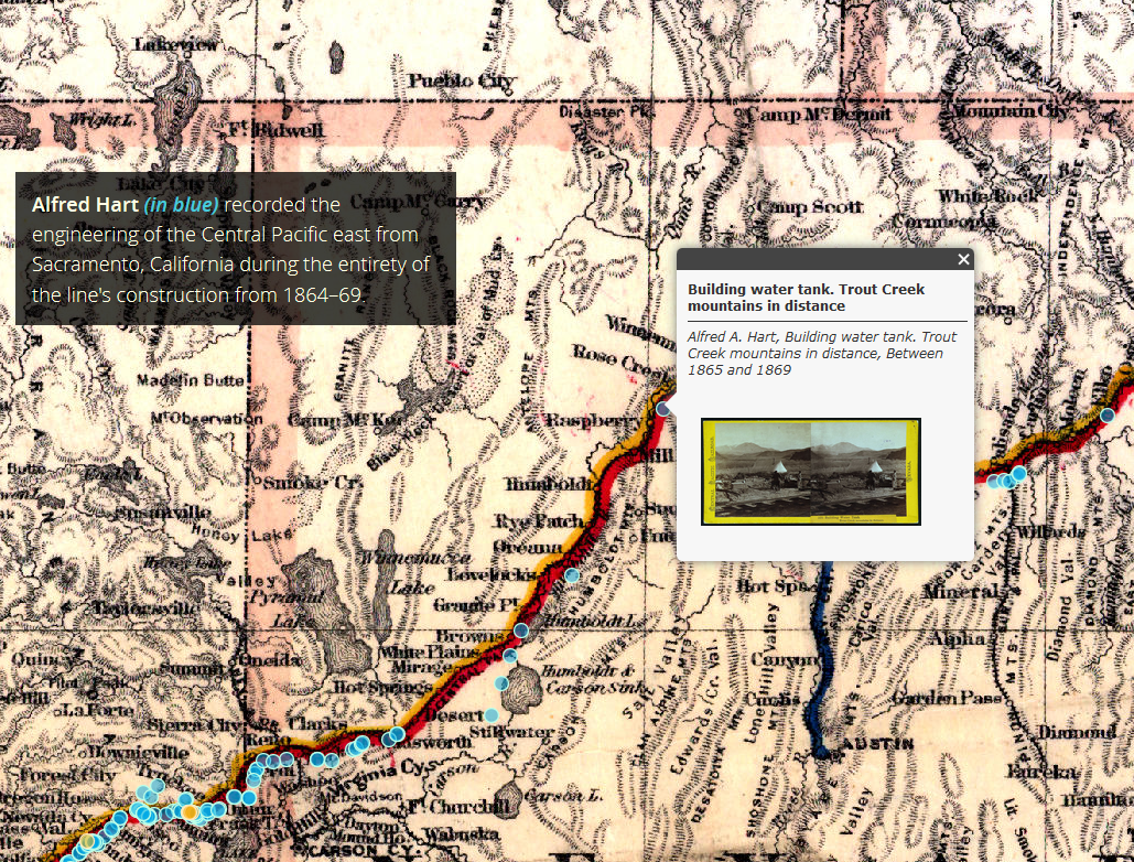 Interactive map with historic map background and blue dots in foreground, with two text boxes of map-related information.