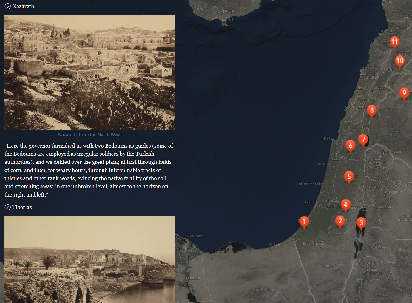 Map of the Middle East with location marks on the right, with text and photographs relating to sites on the left.