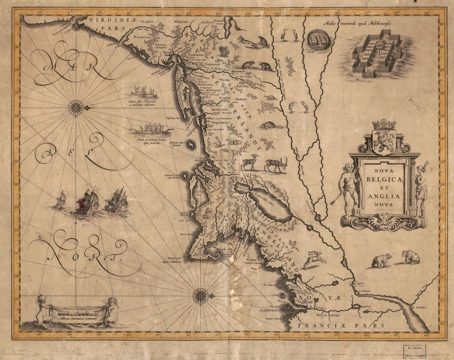 Nova Belgica et Anglia Nova. Map by Willem Janszoon Blaeu, 1630. Geography and Map Division, Library of Congress.
