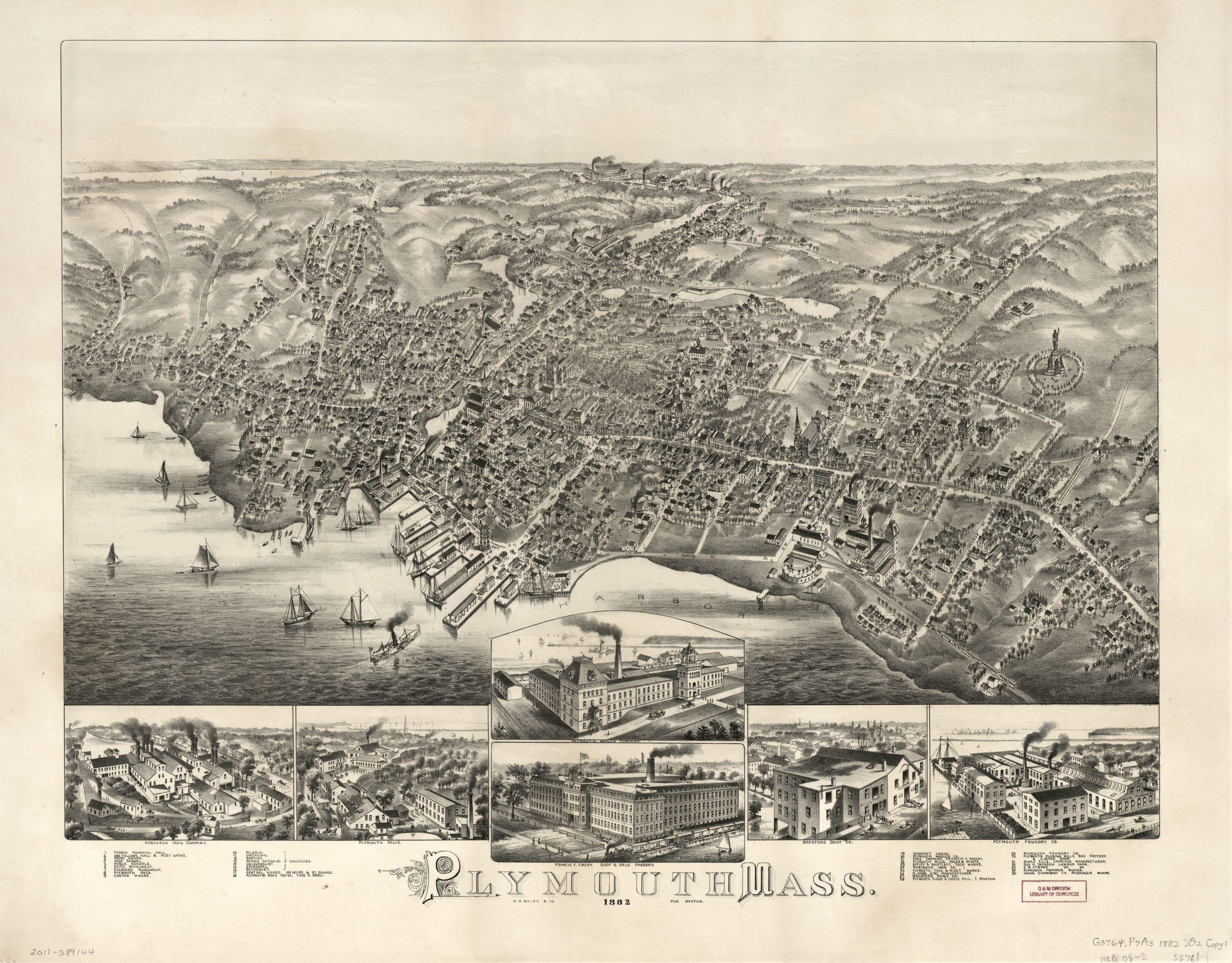 Plymouth, Mass. Map published by O.H. Bailey & Co., 1882. Geography and Map Division, Library of Congress.