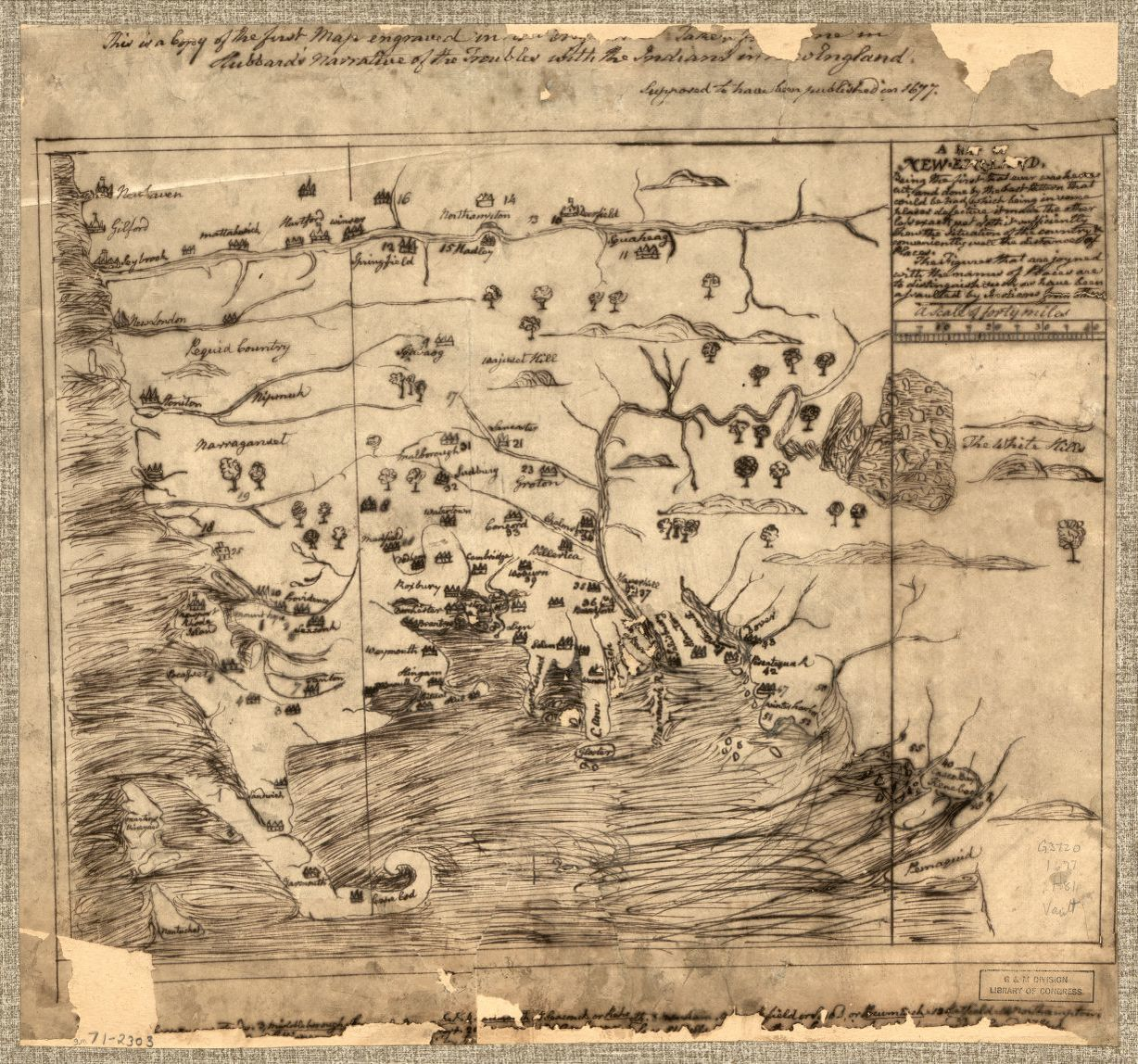 A map of New-England, being the first that ever was here cut...Map published by John Foster, 1677. Geography and Map Division, Library of Congress.