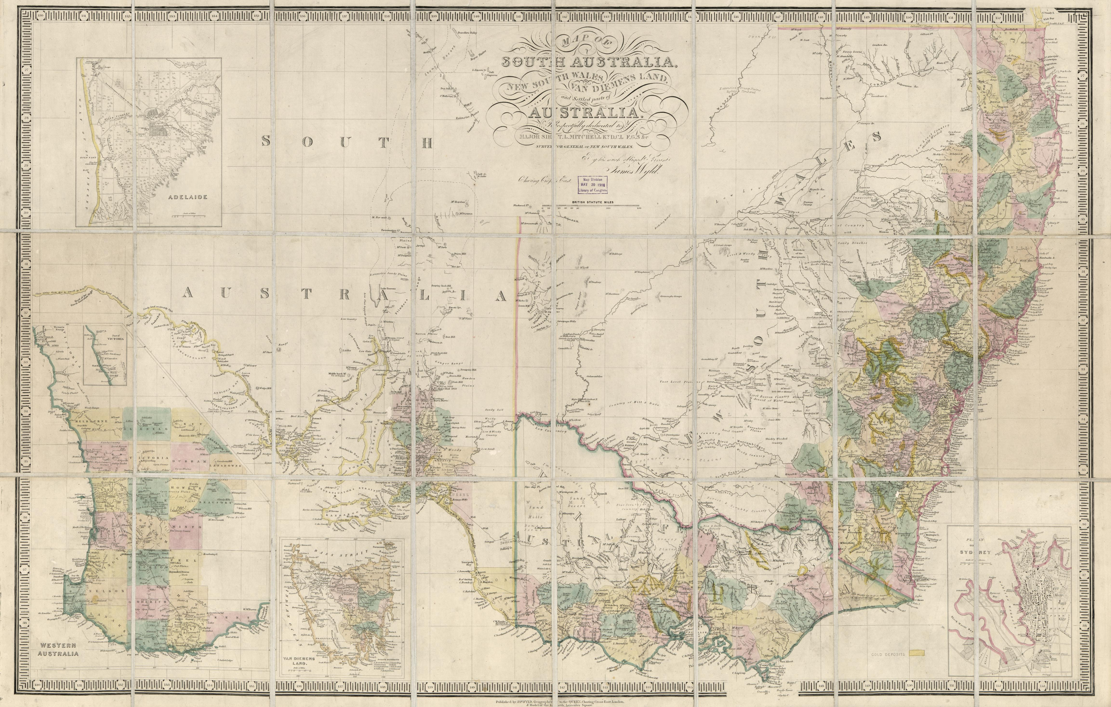 Map of South Australia, New South Wales, Van Diemens Land, and Settled parts of Australia. James Wyld, 1850[?]. Geography and Map Division, Library of Congress.