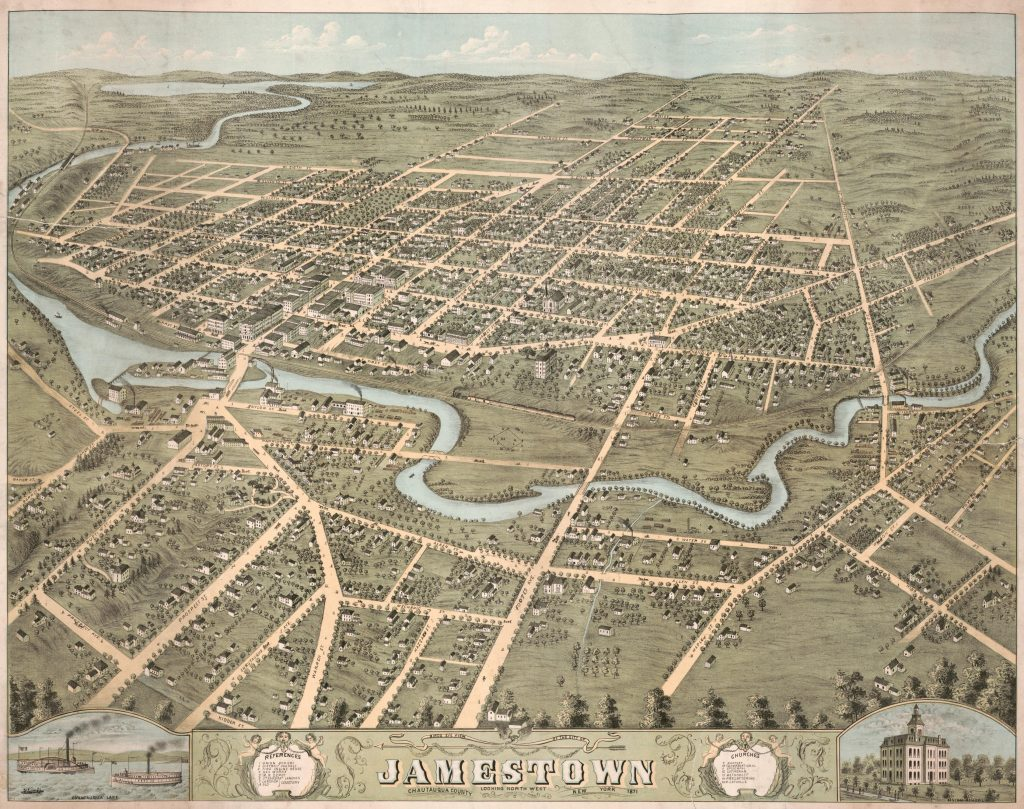 Birds eye view of the city of Jamestown, Chautauqua County, New York 1871 : looking north west. 1871. Geography and Map Division, Library of Congress.