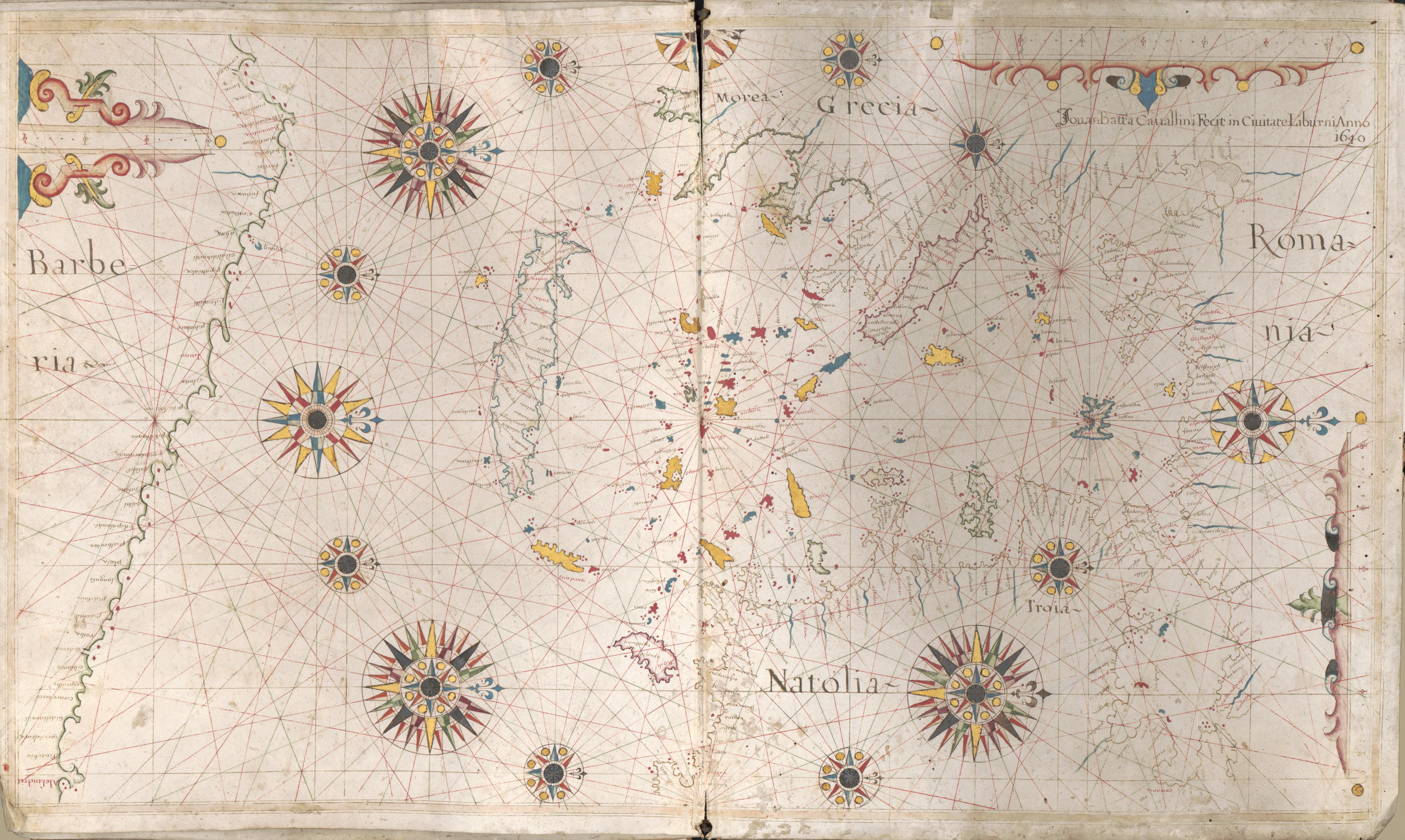 Portolan charts- Mediterranean Sea and western part of the Black Sea [top]; Aegean Sea and part of the Mediterranean Sea including Crete [bottom]. Giovanni Battista Cavallini, 1640. Geography and Map Division, Library of Congress.