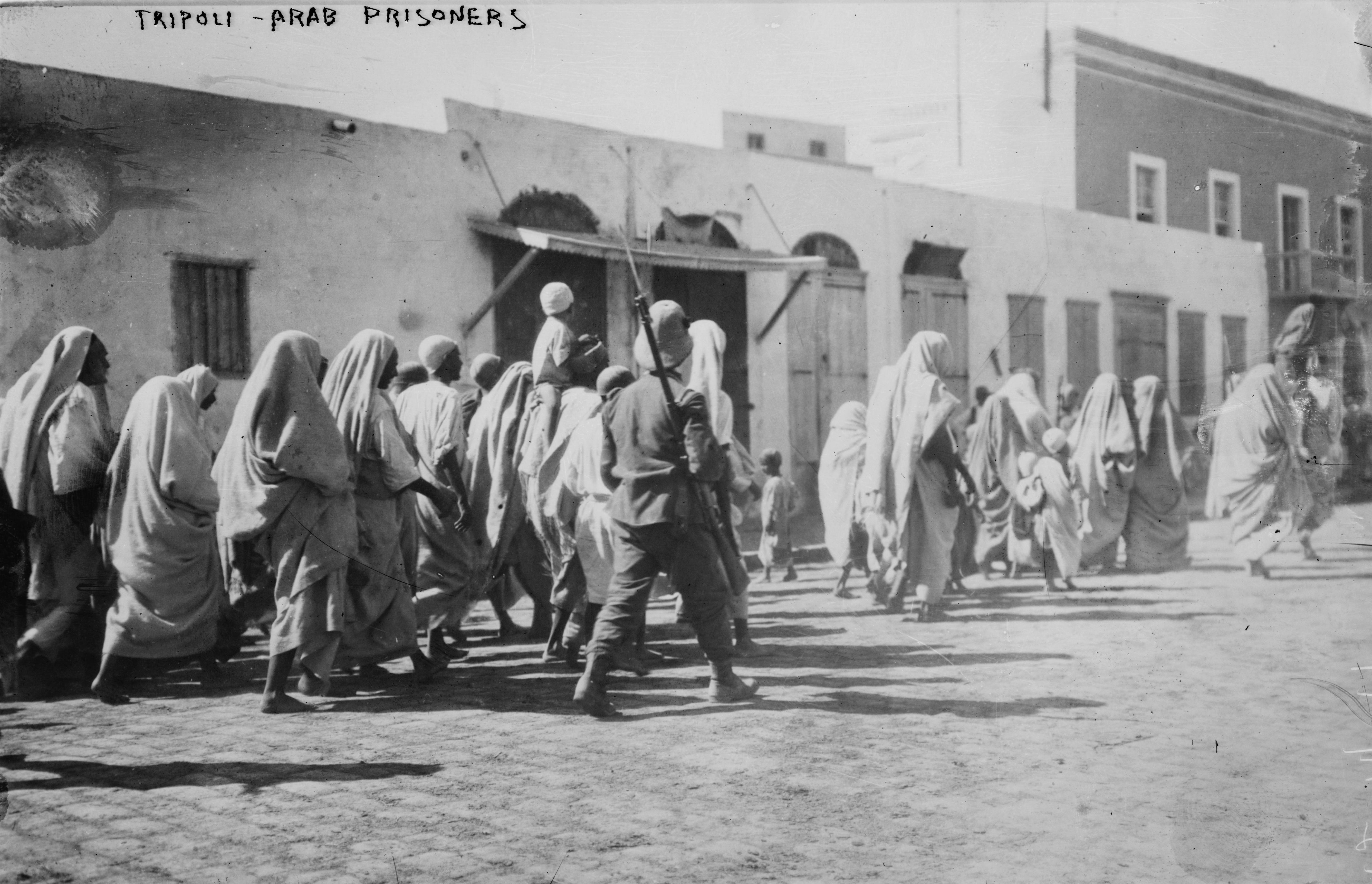 Tripoli - Arab prisoners. Photograph by Bain News Service, 1911 or 1912. Prints and Photographs Division, Library of Congress.