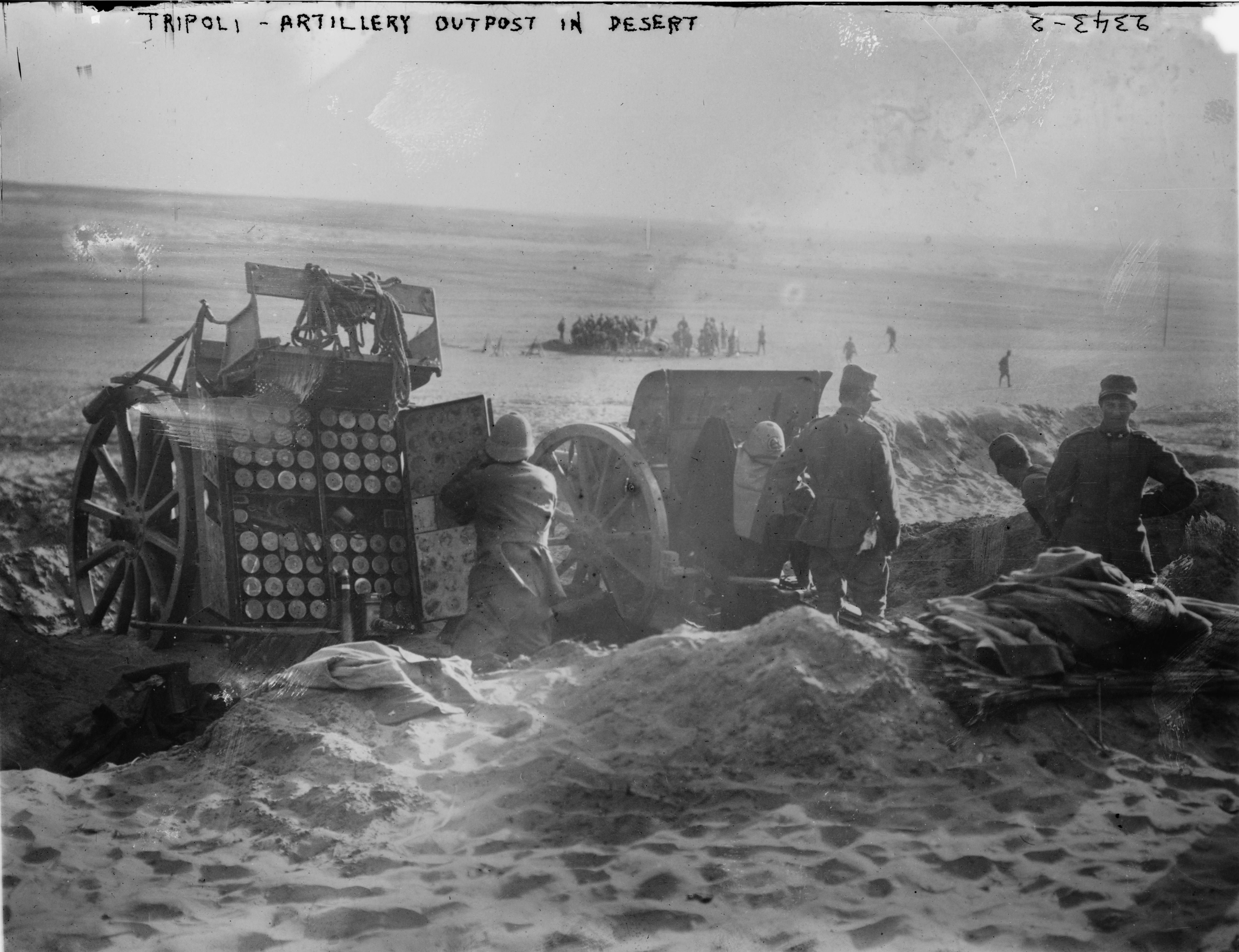 Tripoli - artillery outpost in desert. Photograph by Bain News Service, 1911 or 1912. Prints and Photographs Division, Library of Congress.
