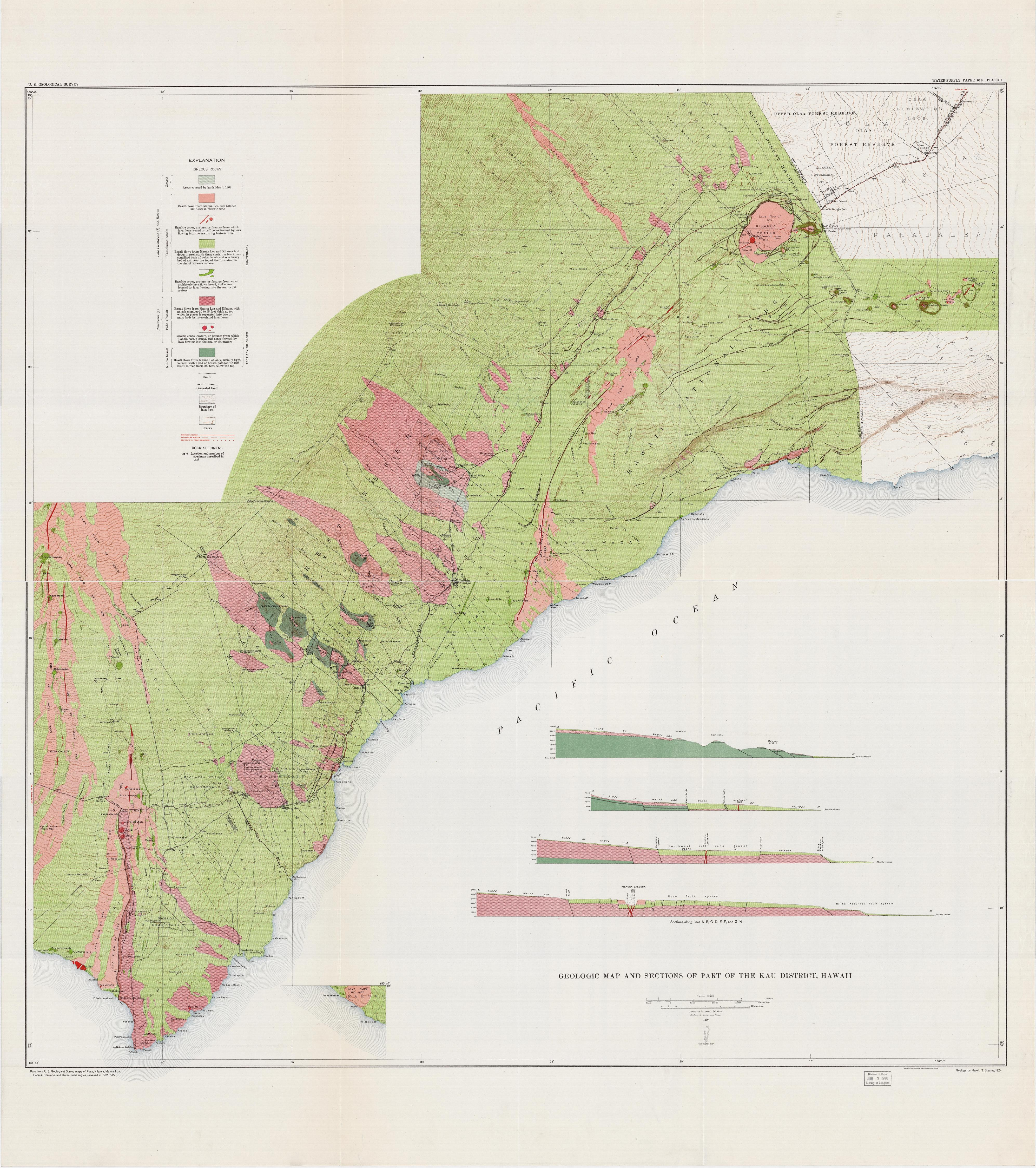 Part of Kau District. Map by U.S. Geological Survey, 1930. Geography and Map Division.