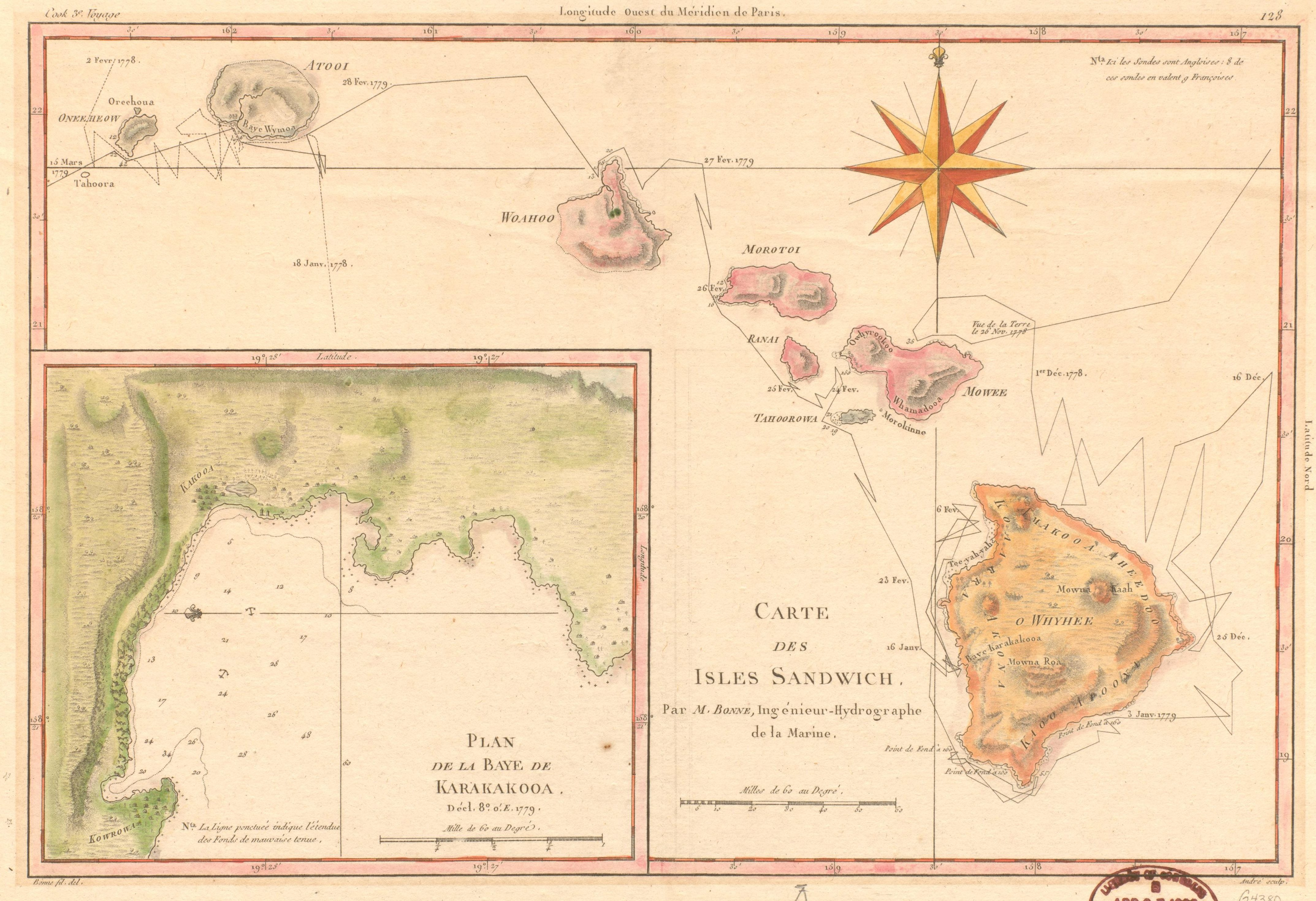 Carte des Isles Sandwich. Map by Rigobert Bonne, 1785. Geography and Map Division.