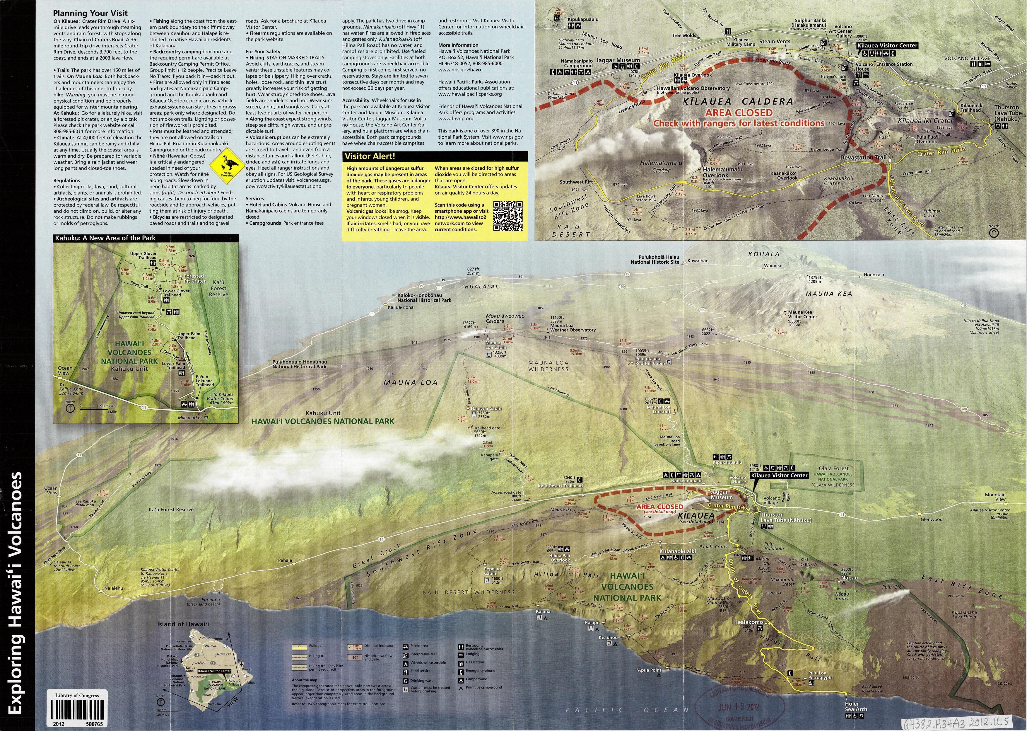 Hawaii Volcanoes National Park, Hawaii. Map by US National Park Service, 2012. Geography and Map Division.