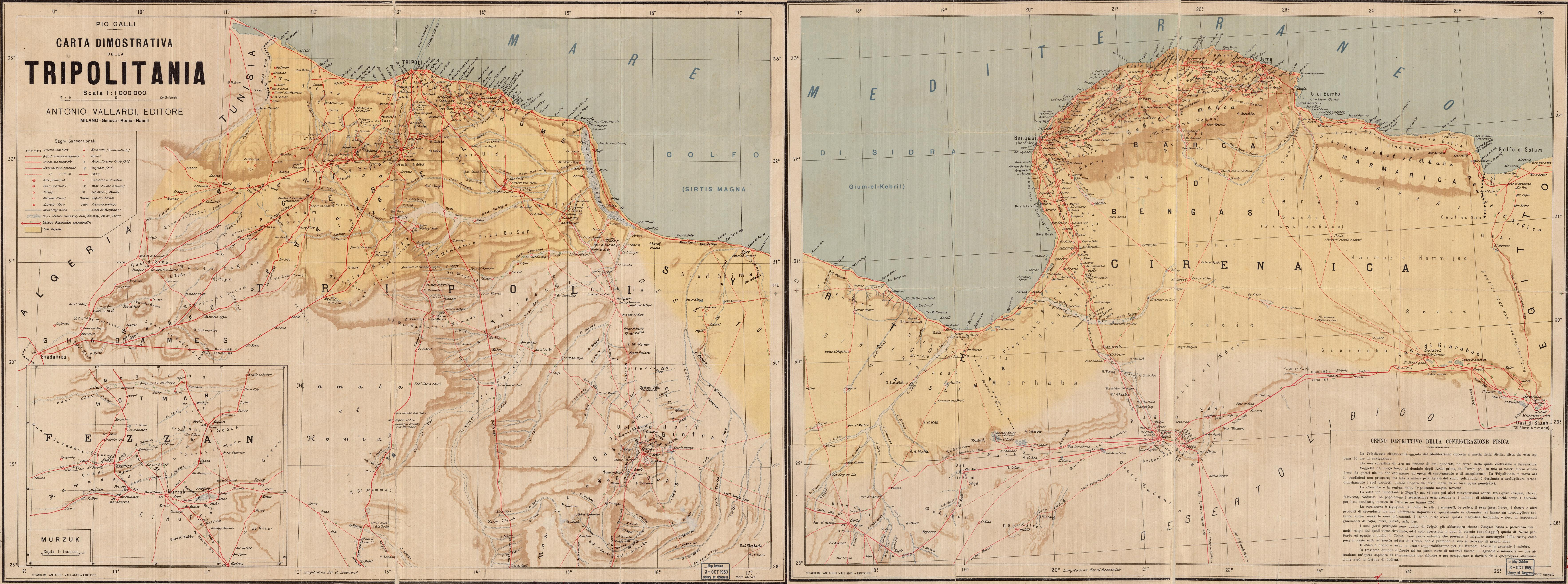 Carta Dimostrativa della Tripolitania. Map published by Antonio Vallarde, 1910. Scale 1:1,000,000, on two sheets. Geography and Map Divison, Library of Congress. This map was published a year before the Italian invasion of Libya. Italian interest in the region is demonstrated by the number and variety of features it includes, such as roads and distances along them, towns and villages, telegraph lines, wells, monuments, the graves of prominent Muslims, salt marshes, arable lands, and relief.
