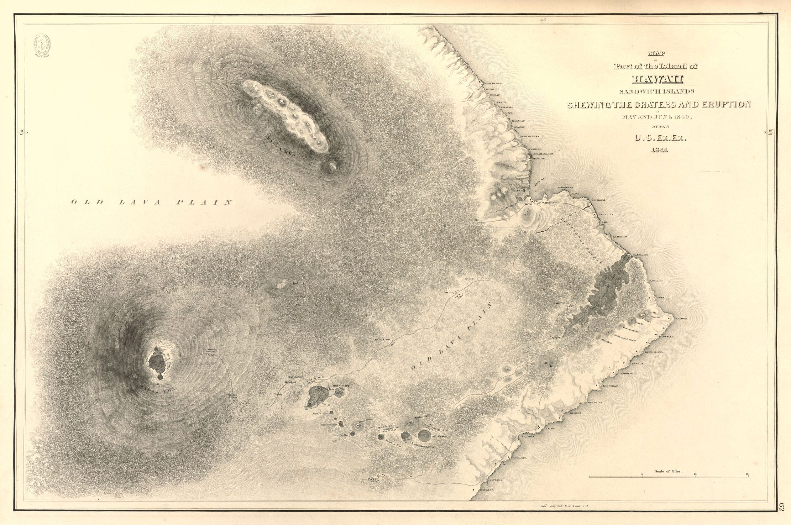 Map of Part of the Island of Hawaii Sandwich Islands Shewing the Craters and Eruption of May and June 1840. United States Exploring Expedition, 1841. Published by C. Sherman, 1858. Geography and Map Division.