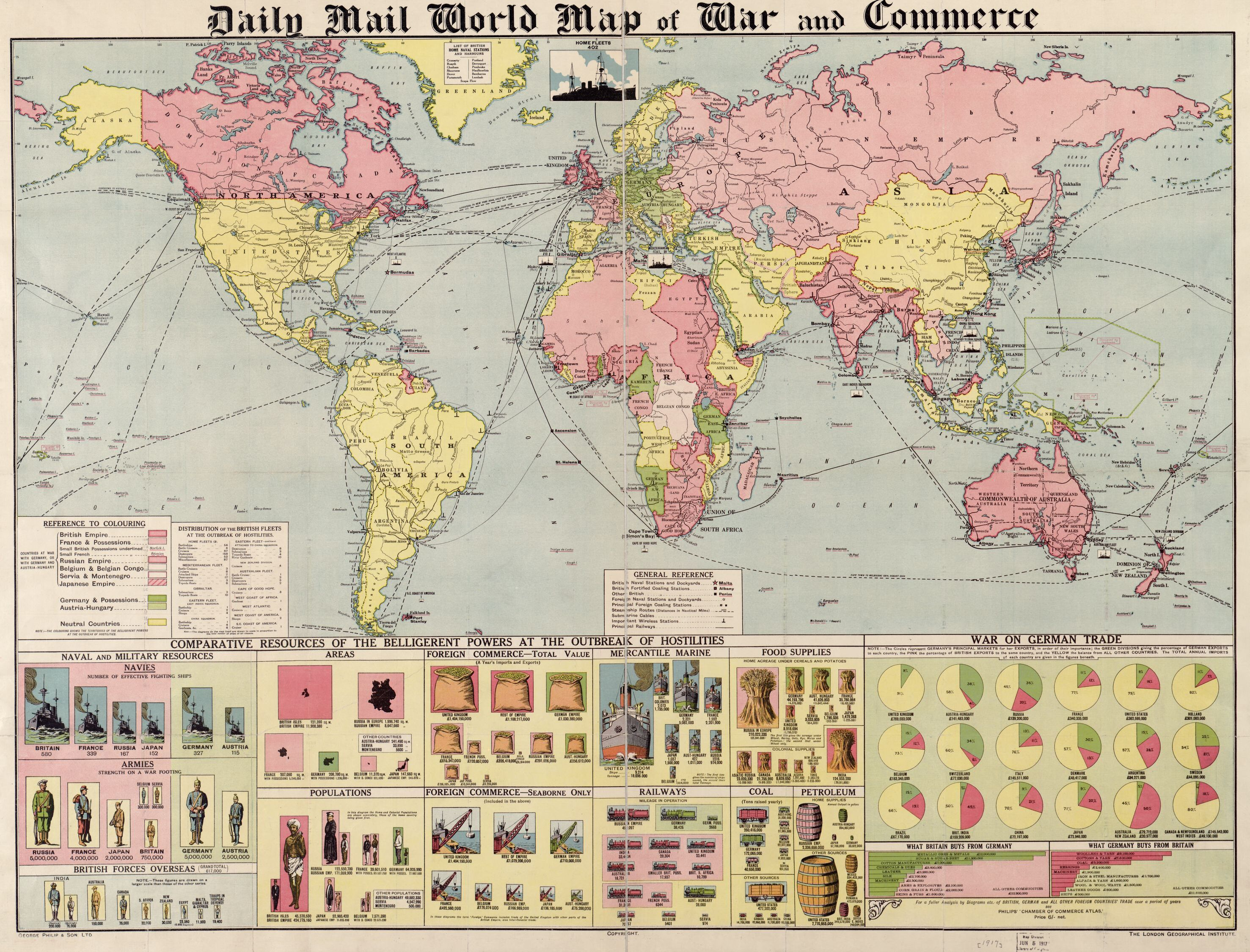 Daily Mail world map of war and commerce. Map by George Philip & Son, and London Geographical Institute, 1917. Geography and Map Division.