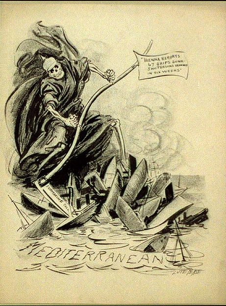 The frightfulness of German submarine warfare, especially its toll on non-combatants, is illustrated in a wartime editorial cartoon. [Toll of German subs sinking ships in Mediterranean].  Lute Pease.  [between 1914 and 1918].  Drawing.  Print and Photographs Division.