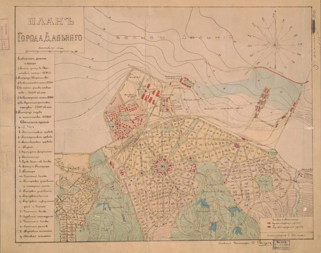 Plan goroda Dalʹni︠a︡go / glavnyĭ inzhener V. Sakharov.  [Russia]: Litografiia T. Daloniago, [around 1899].  Map, lithographic print.  Scale approximately 1:21,000. 0.01 [represents] 100 sagenes.  Geography and Map Division.  LC call number G7824.D3 1899 .S3