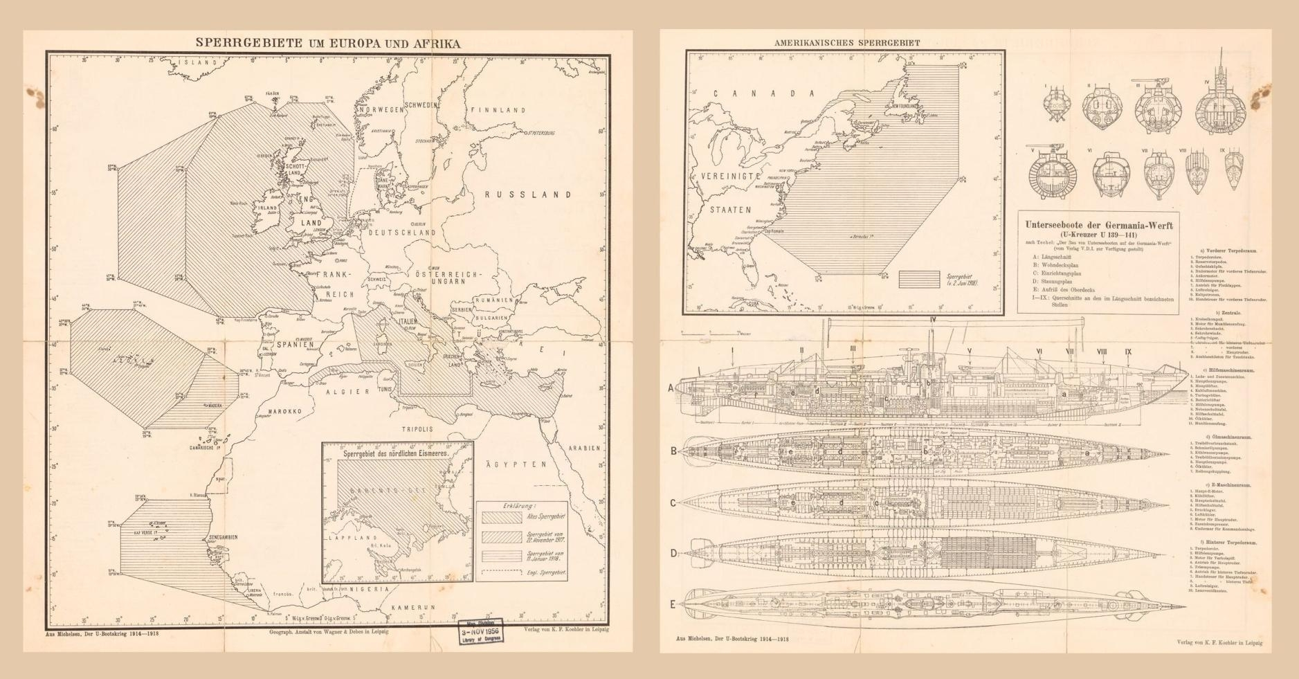 The map indicates areas prowled by U-boats during the war.  It also includes cross-sections of nine segments of vessels in the U-139 and U141 classes, in addition to exposed views of their sides and four decks, and an index of their features. Sperrgebiete um Europa und Afrika / Geograph. Anstalt von Wagner & Debes in Leipzig.  (Leipzig:  Verlag von K.F. Koehler, [1925]).  Scale ca. 1:24,000,000.  Geography and Map Division.  LC call number G5701.S65 1925 .W2
