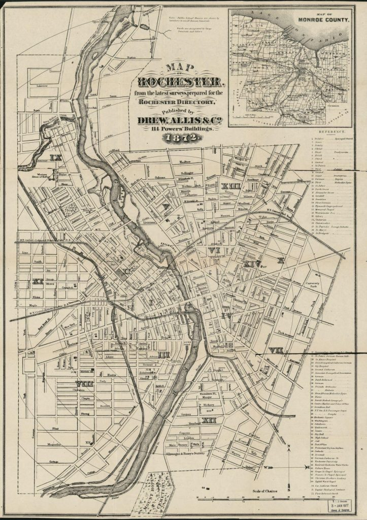 Map of Rochester : from the latest surveys. Map by Drew, Allis & Co. 1872. Geography and Map Division.