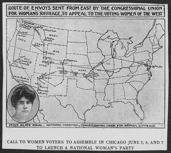 Map of] Route of Envoys Sent from East by the Congressional Union for Woman's Suffrage, to Appeal the Voting Women of the West [with inset portrait of Alice Paul]. 1916. Manuscript Division.
