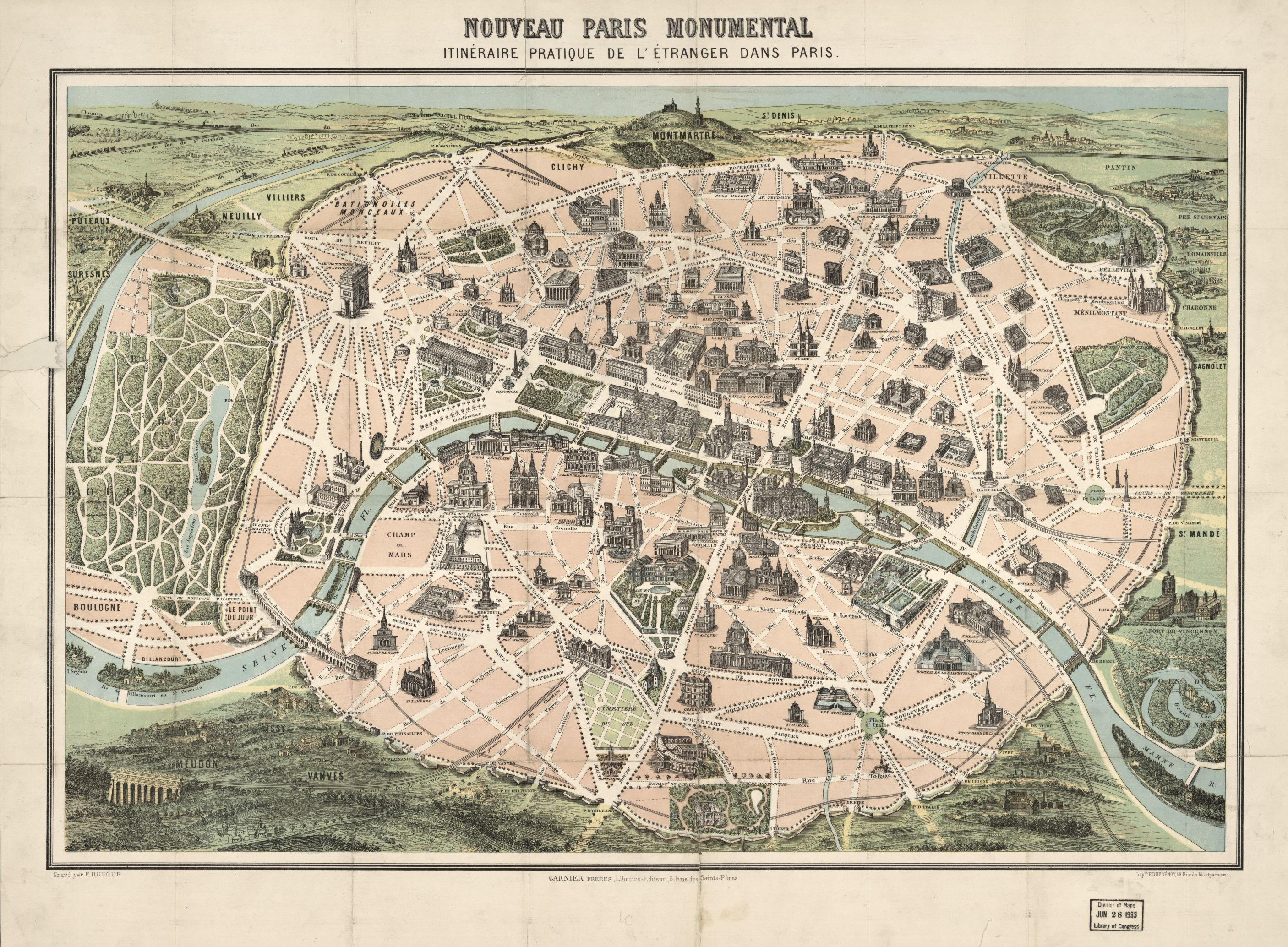 Nouveau Paris monumental : itinéraire pratique de l'étranger dans Paris. Map by Garnier Freres, 1878. Geography and Map Division.