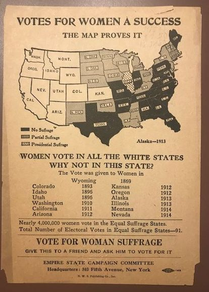 Votes for women a success : the map proves it. Map by Empire State Campaign Committee, 1914. Rare Book and Special Collections Division.