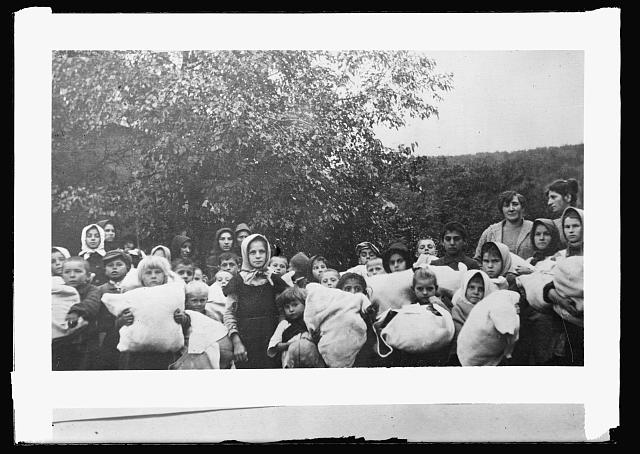 Left even more impoverished by World War I, Carptho-Rusyns, like many other peoples of Europe, survived on American assistance.  Ruthenia, distribution of clothing by A.R.C.  Prints and Photographs Division.