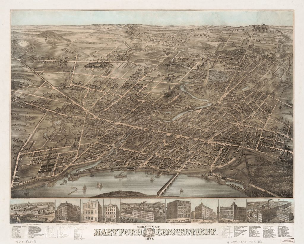 The city of Hartford, Connecticut. Map by O.H. Bailey, 1877. Geography and Map Division.