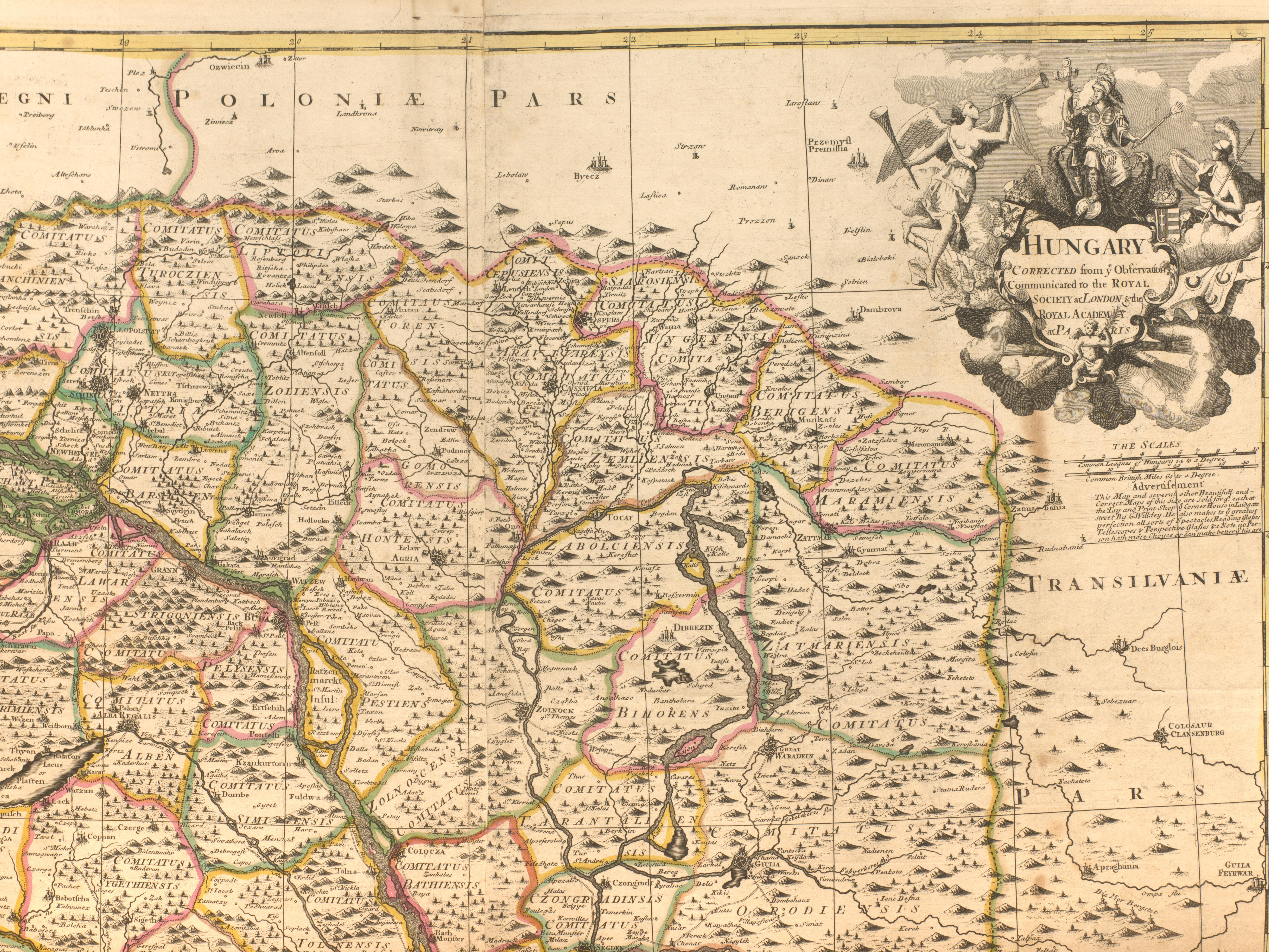 This section of a British map depicts Carpathian-Rus' as it appeared in early the 18th century.  Geography and Map Division // Hungary – [17--] – 1:875,000 – G. Willdey