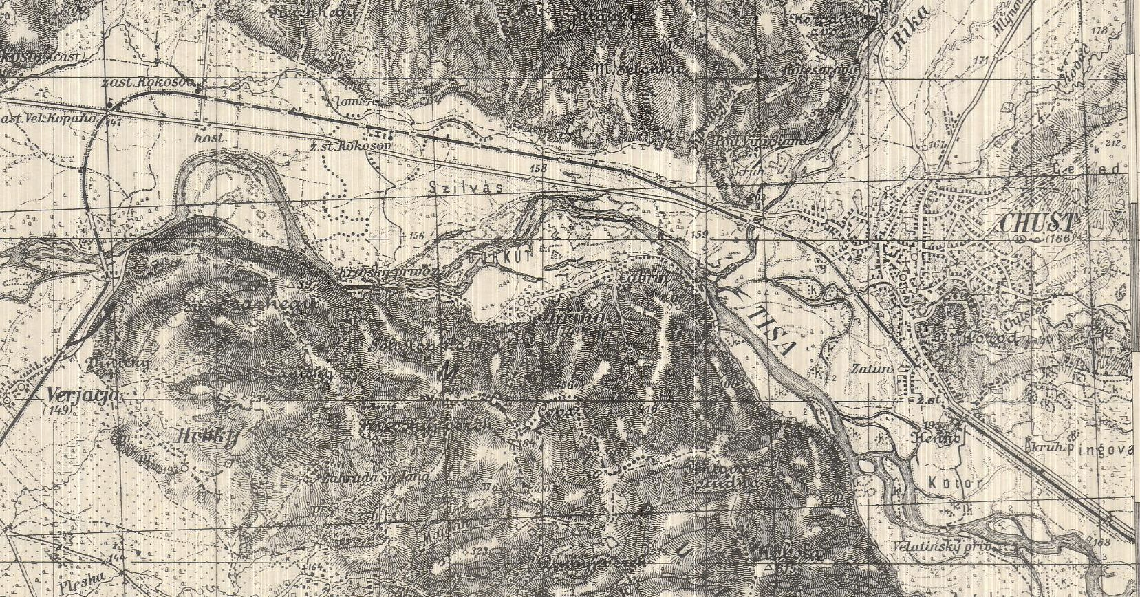 This portion of a 1939 map, once in Nazi possession, shows where much of the fighting took place between Carpathian Sich and Hungarian forces in mid-March 1939.  Geography and Map Division // G6520 s100 .P6
