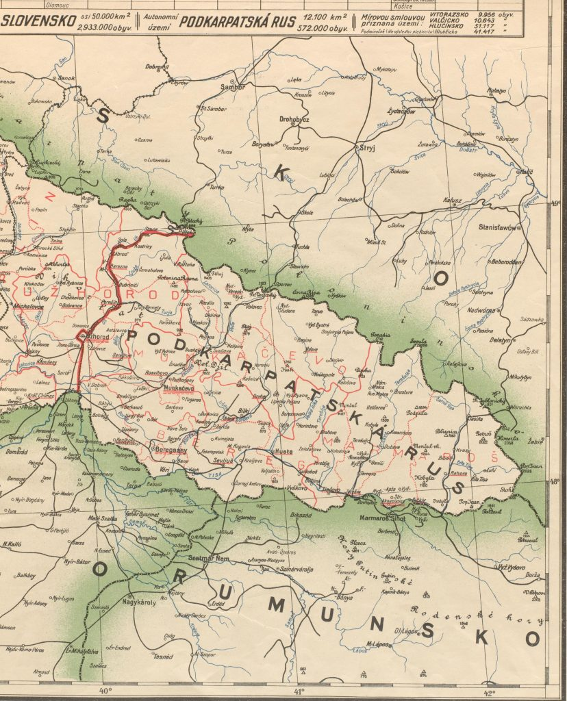 This 1920 Czech map indicates that the population of Podkarpatska Rus' was just over 570,000.  Geography and Map Division // Czechoslovakia – 1920 – 1:750,000 – Cs. voj. Zemepis Ustavu