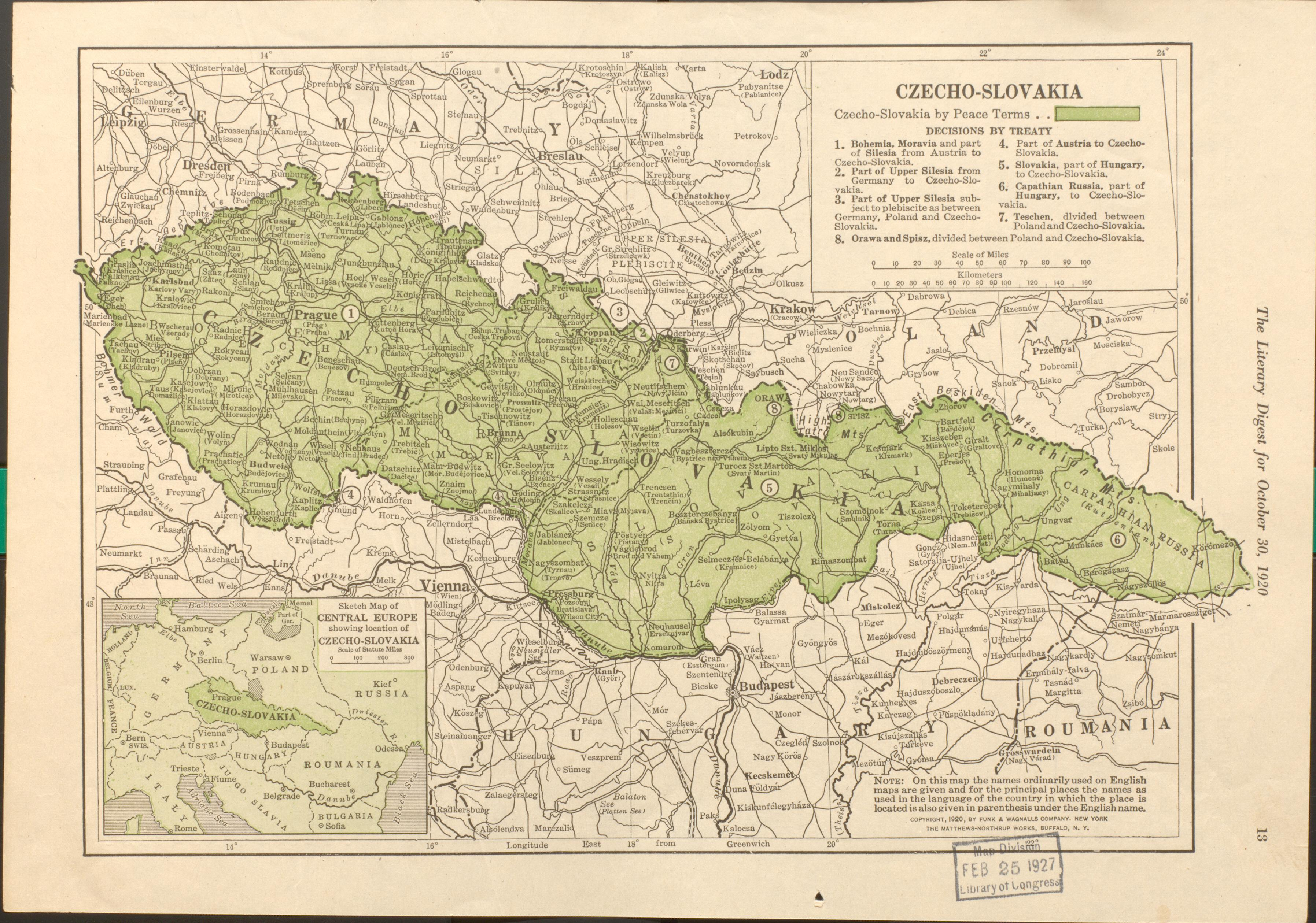 "This 1920 map indicates the post-war arrangements of Czechoslovakia.  Geography and Map Division // Czechoslovakia – 1920 – 1""=50 miles – Lit. Digest"
