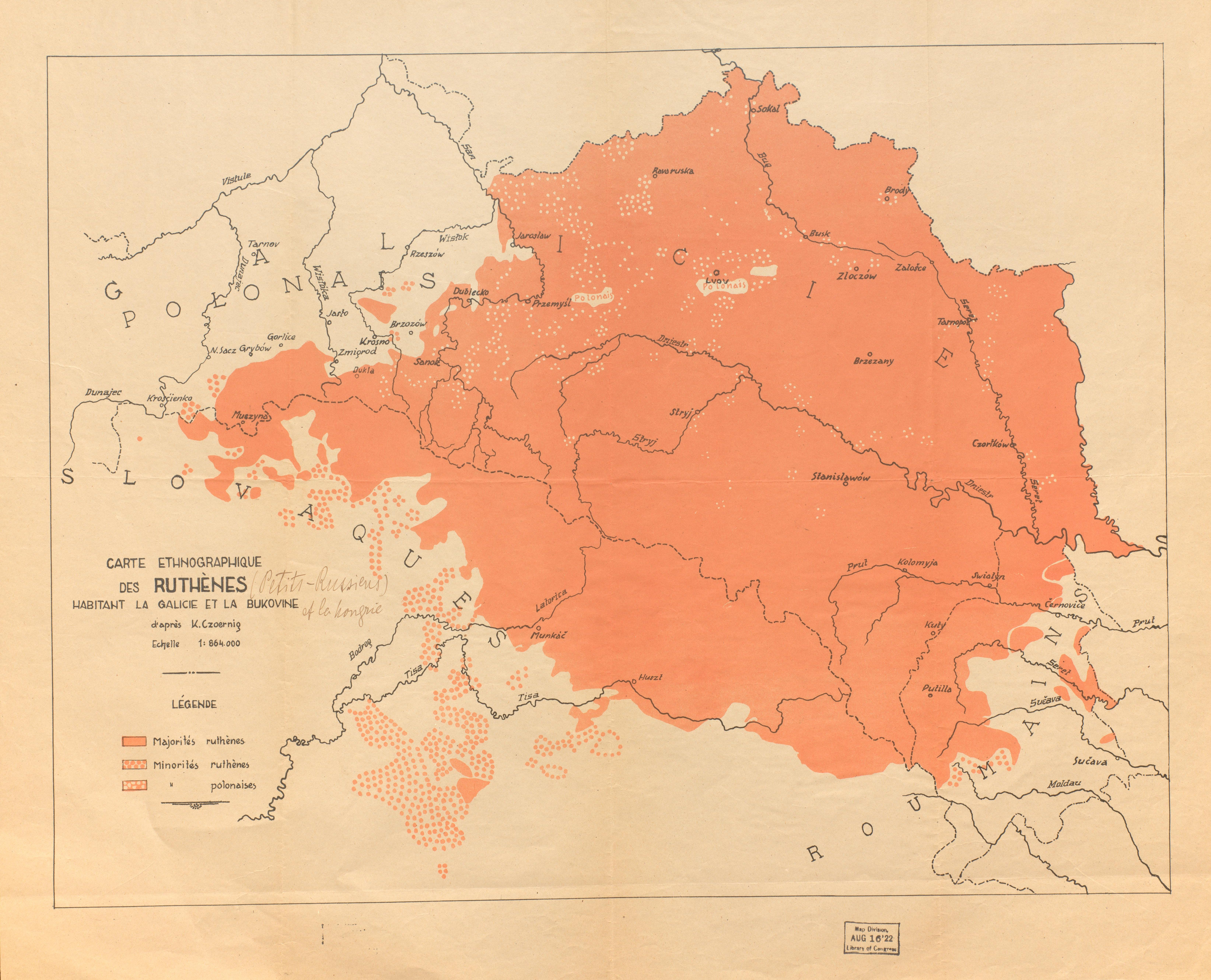 A pre-World War I French map generalizes the distribution of Rusyns in Eastern Europe, particularly in Ukraine.  Geography and Map Division // Ukraine – Ethnology – [191-] – 1:864,000 – K. Czeoernic