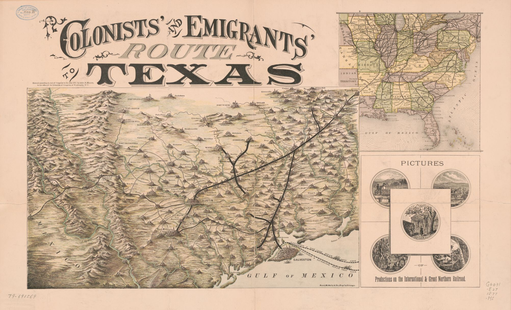 Colonists' and emigrants' route to Texas. Map by Rand McNally, 1877. Geography and Map Division.