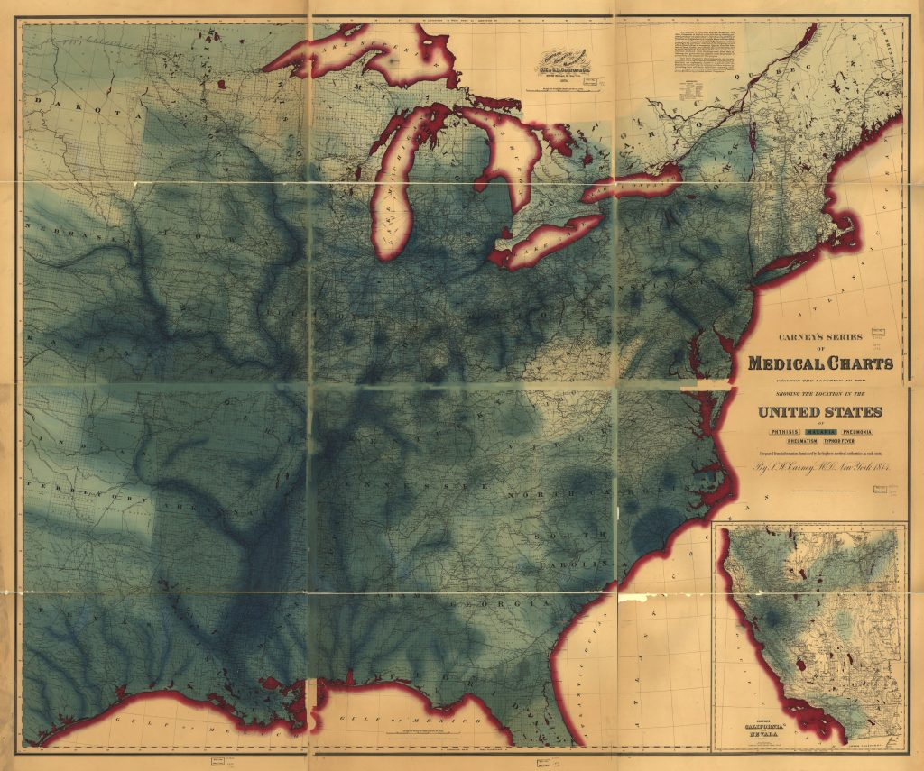 Carney, L. H., M.D. Carney's series of medical charts showing location in the United States of. New York: G.W. & C.B. Colton & Co, 1874 Geography and Map Division. Showing Distribution of malaria in green.