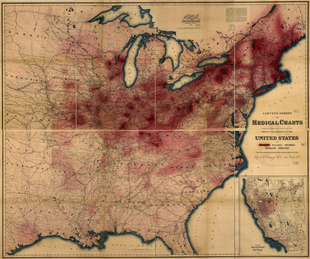 Carney, L. H., M.D. Carney's series of medical charts showing location in the United States of. New York: G.W. & C.B. Colton & Co, 1874. Geography and Map Division