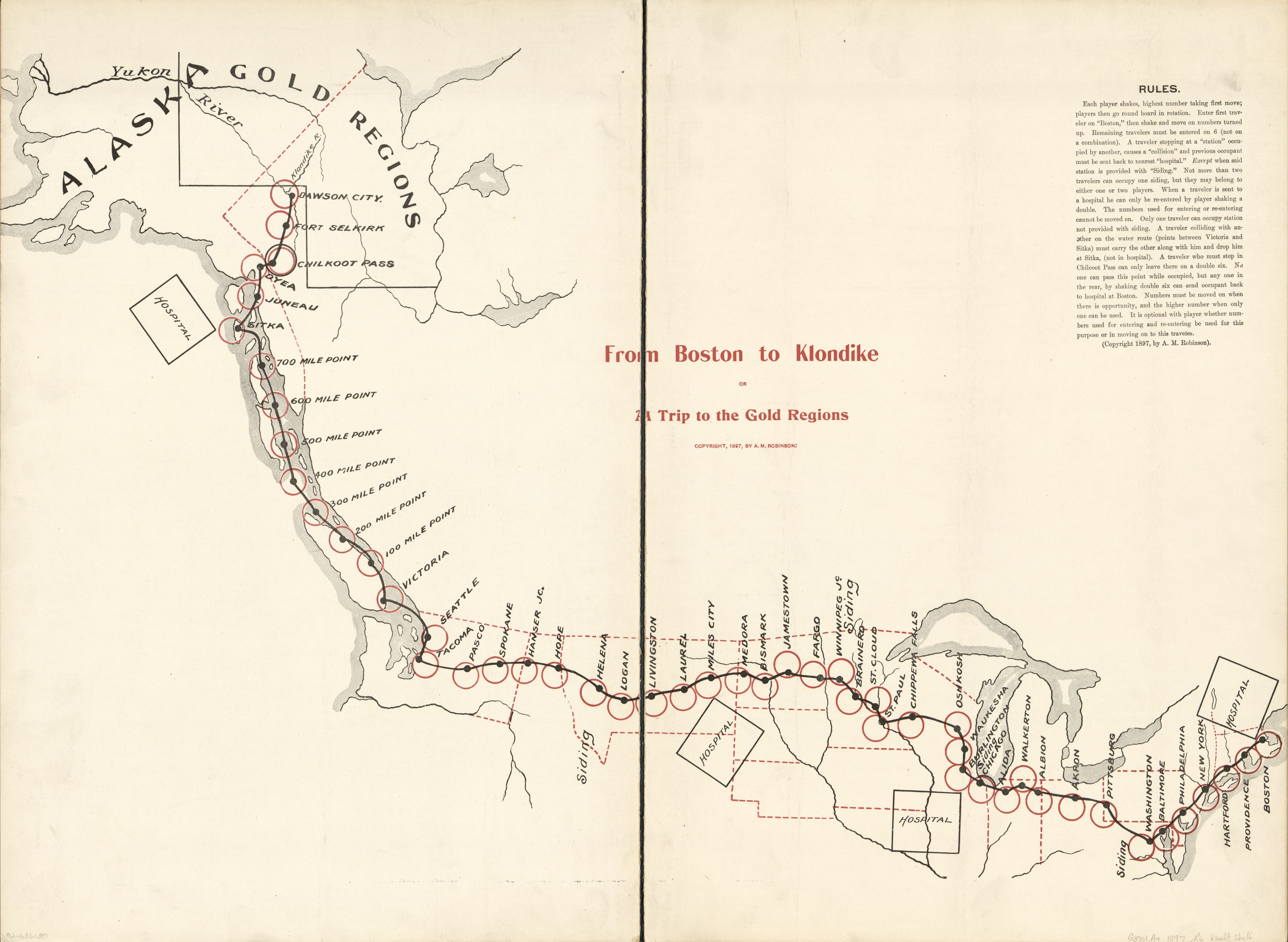 From Boston to Klondike or a trip to the gold regions. Map by A.M. Robinson, 1897. Geography and Map Division, Library of Congress.