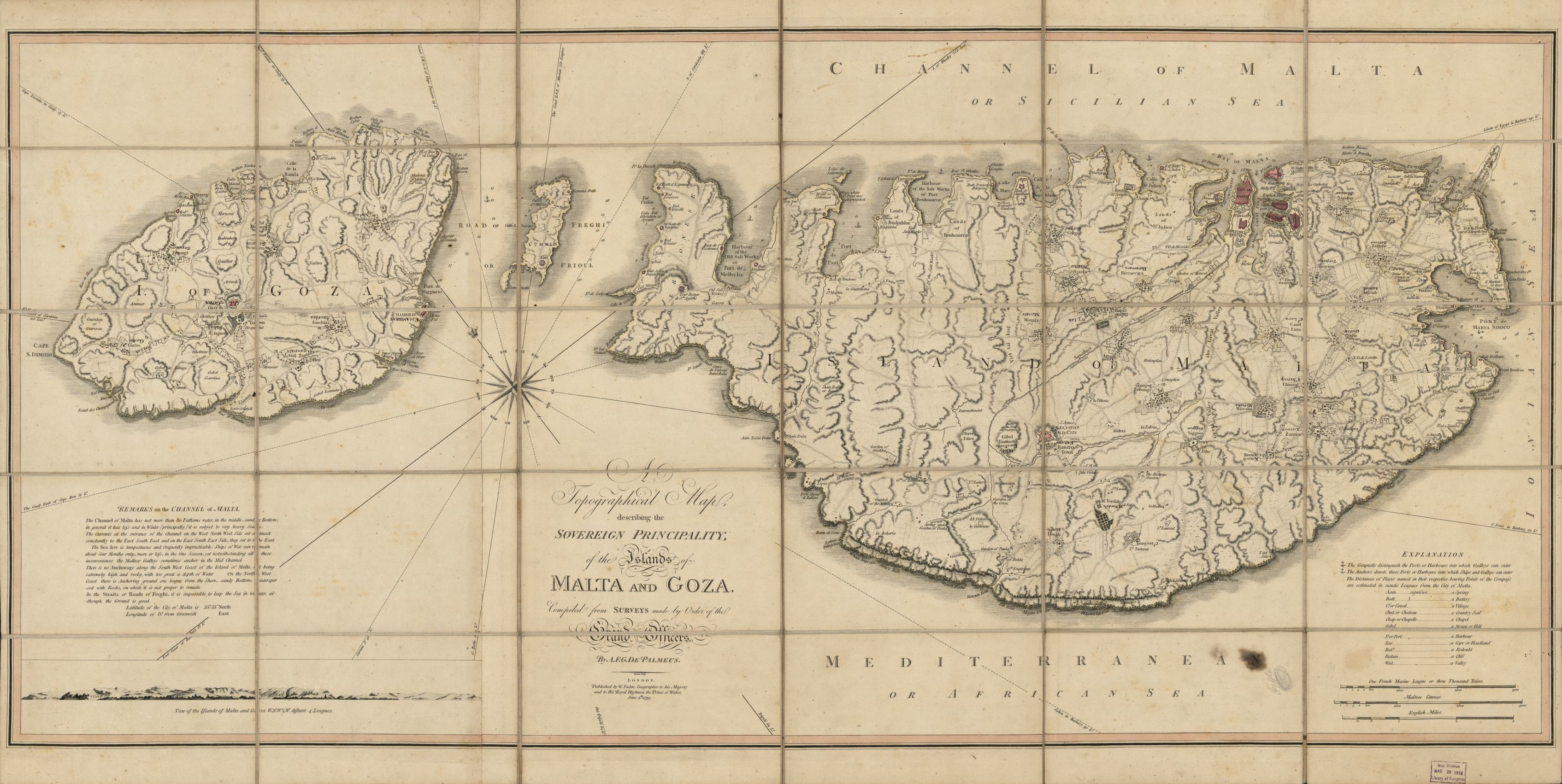 This map includes three different scale bars to account for the difference in methods of measurement by separate countries. A topographical map describing the principality of the islands of Malta and Goza. Map by William Faden, 1799. Geography and Map Division, Library of Congress.