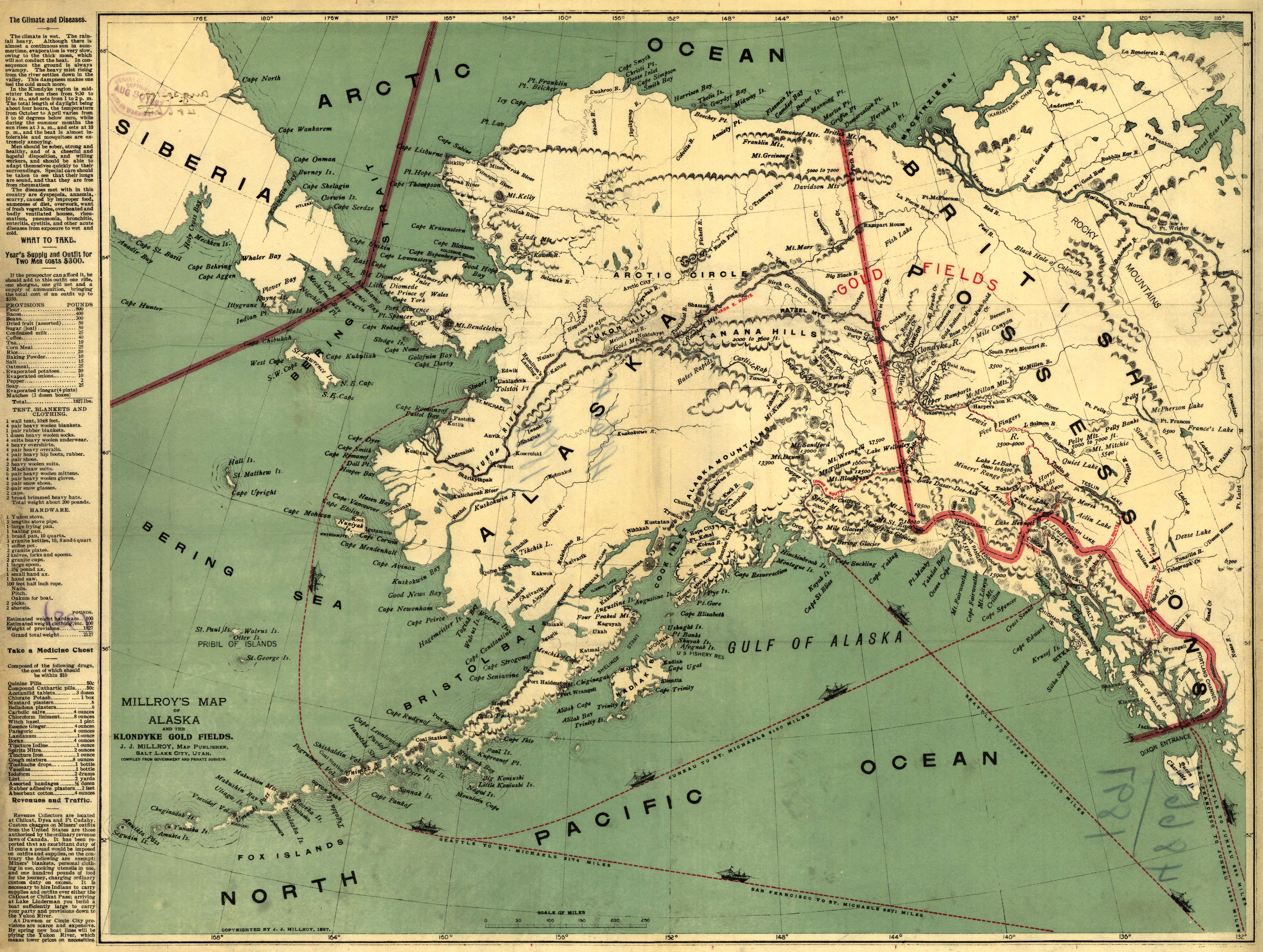 Millroy's map of Alaska and the Klondyke gold fields. Map by J.J. Millroy, 1897. Geography and Map Division, Library of Congress.