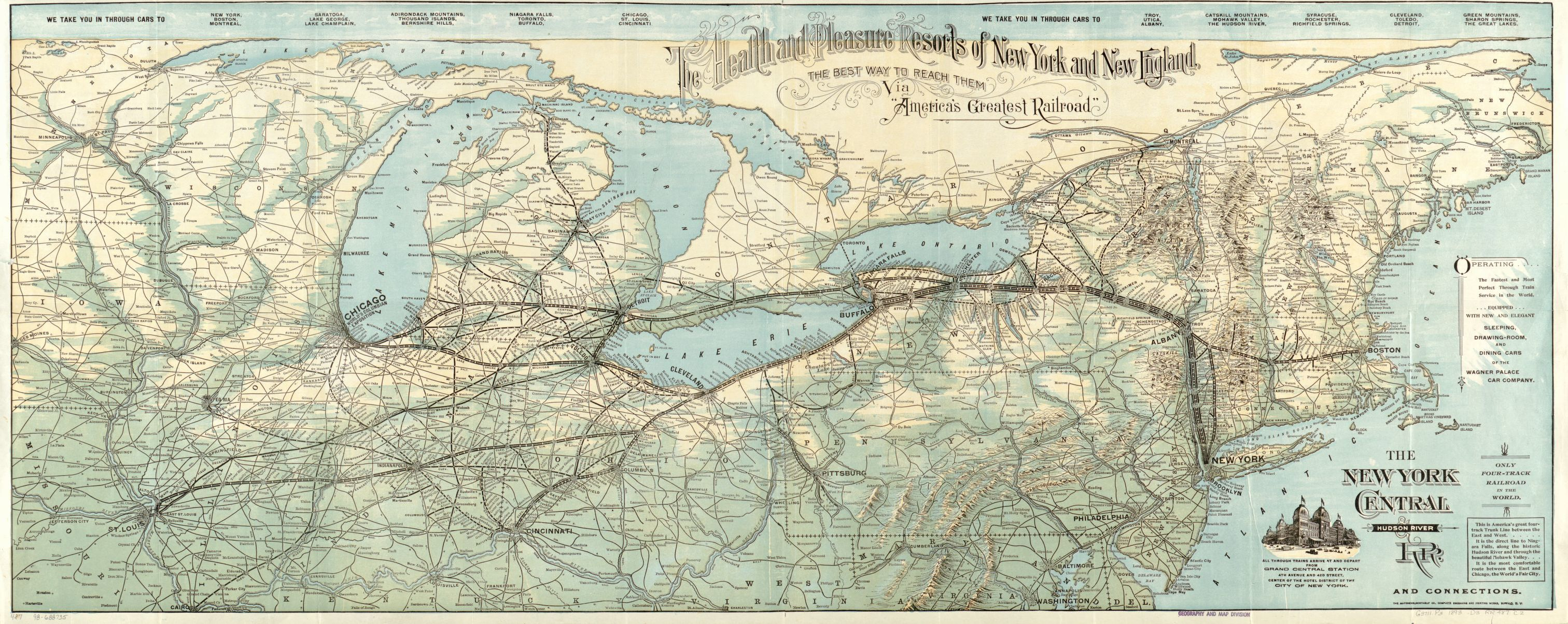 The New York Central & Hudson River R.R. and connections. Map by New York Central and Hudson River Railroad Company, 1893. Geography and Map Division, Library of Congress.