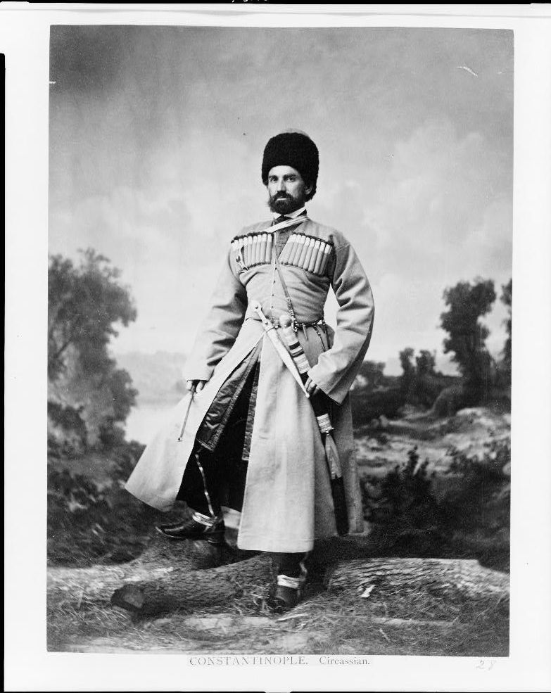 Photograph of a Circassian man in traditional garb in Constantinople in 1865, a year after the expulsion.  Prints and Photographs Division.