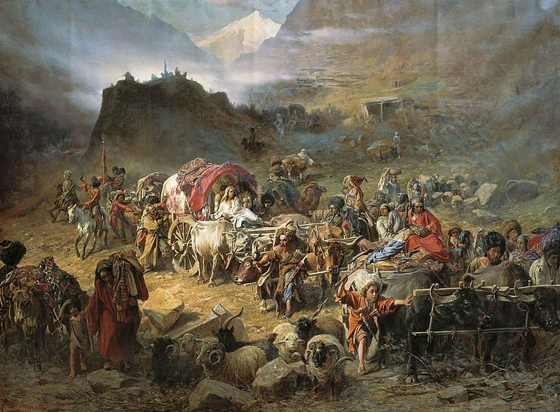 The trauma of the event inspired Georgian artist, Pyotr Gruzinsky, to memorialize it in this 1872 painting titled The abandonment of the village by the mountaineers as the Russian troops approached.  Public domain image via Wikimedia, courtesy of the bg gallery http://www.bg-gallery.ru/image.php?img_id=836 .