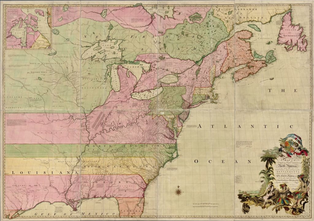 Mitchell, John, Thomas Kitchin, and Andrew Millar. A map of the British and French dominions in North America, with the roads, distances, limits, and extent of the settlements, humbly inscribed to the Right Honourable the Earl of Halifax, and the other Right Honourable the Lords Commissioners for Trade & Plantations. [London; Sold by And: Millar, 1755] Library of Congress, Geography and Map Division.
