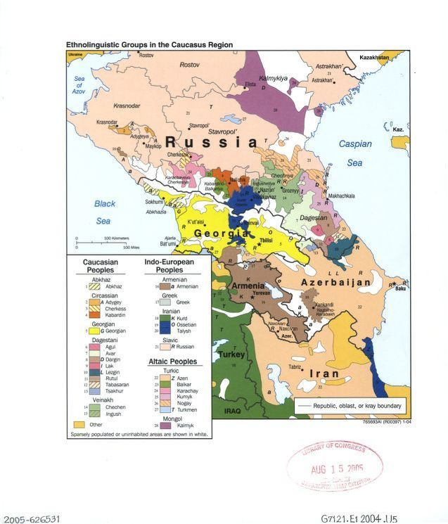 Today speakers of Cherkess and its linguistic affiliates in the Caucasus are more or less limited to three localities.   Ethnolinguistic groups in the Caucasus region.  Geography and Map Division.