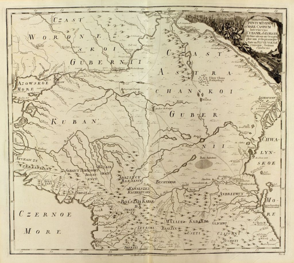 This crop of a map from a 1745 Russian atlas covers the historical homelands of the Adyga.  Russischer Atlas, welcher in einer general-Charte . . . plate 12.  Geography and Map Division.