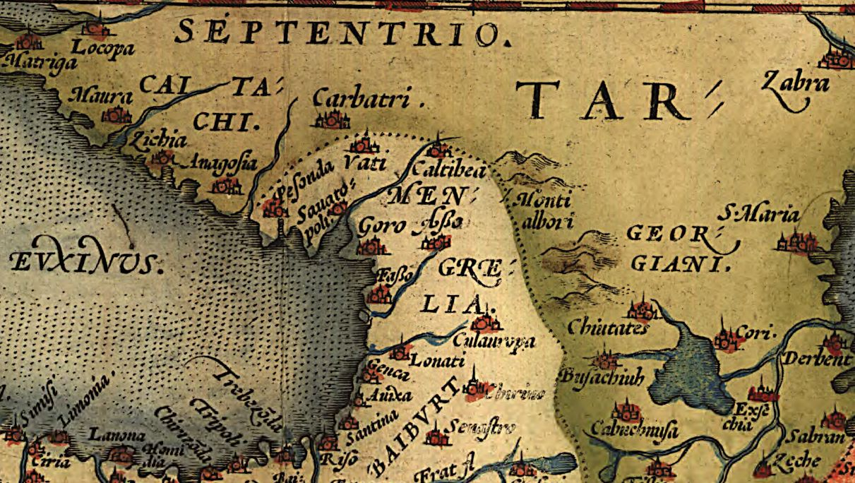 This section of a plate from the Theatrum Orbis Terrarum presents the Caucasus as understood by a 16th century Flemish cartographer.  The Black Sea coastal town of Zichia is a medieval reference to the former kingdom of the Adyga, and likely stands for the town of Sochi today.  Geography and Map Division.