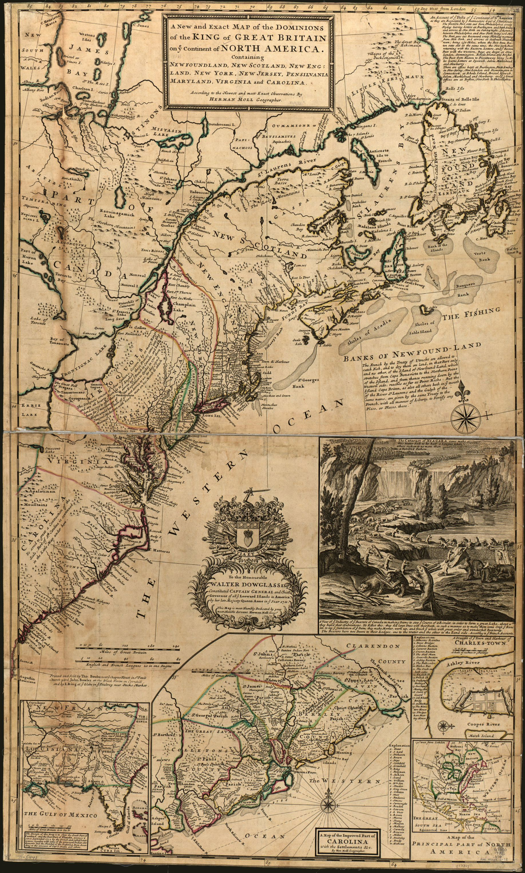 Newfoundland, New Scotland, New England, New York, New Jersey, Pensilvania, Maryland, Virginia and Carolina. Herman Moll. 1731. Geography and Map Division.