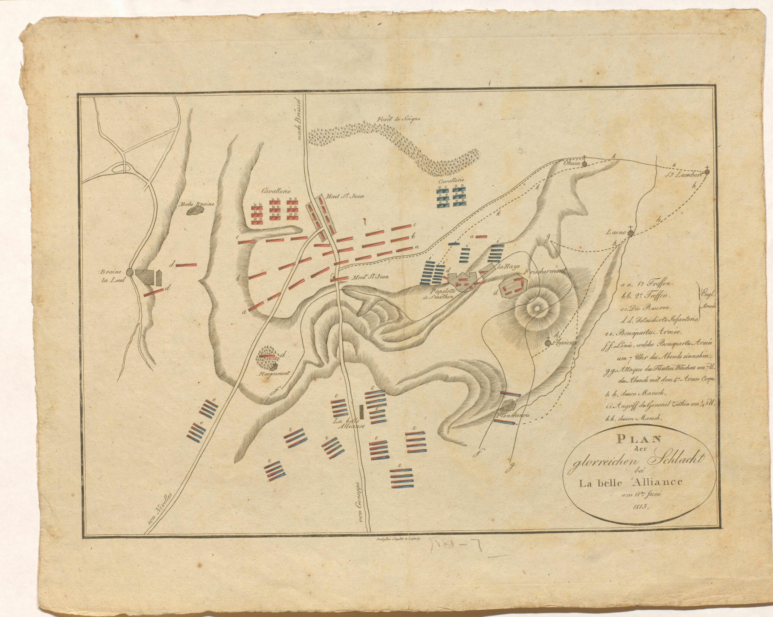 A German map of the Battle of Waterloo.