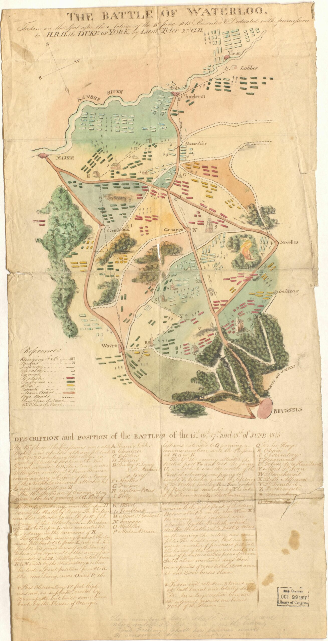 A manuscript map of the Battle of Waterloo.