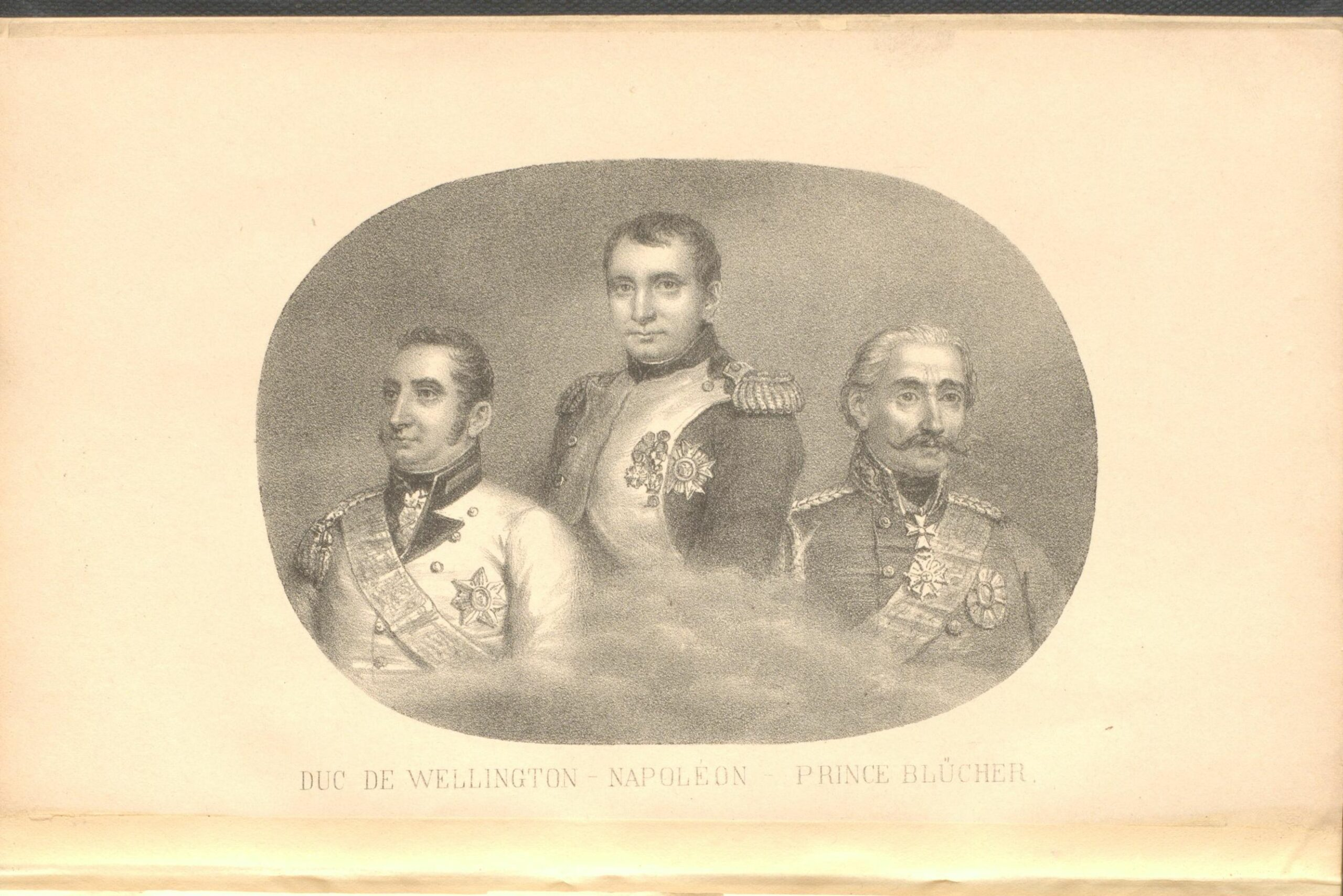 A portrait of the Duke of Wellington, Napoleon and Marshal Blucher