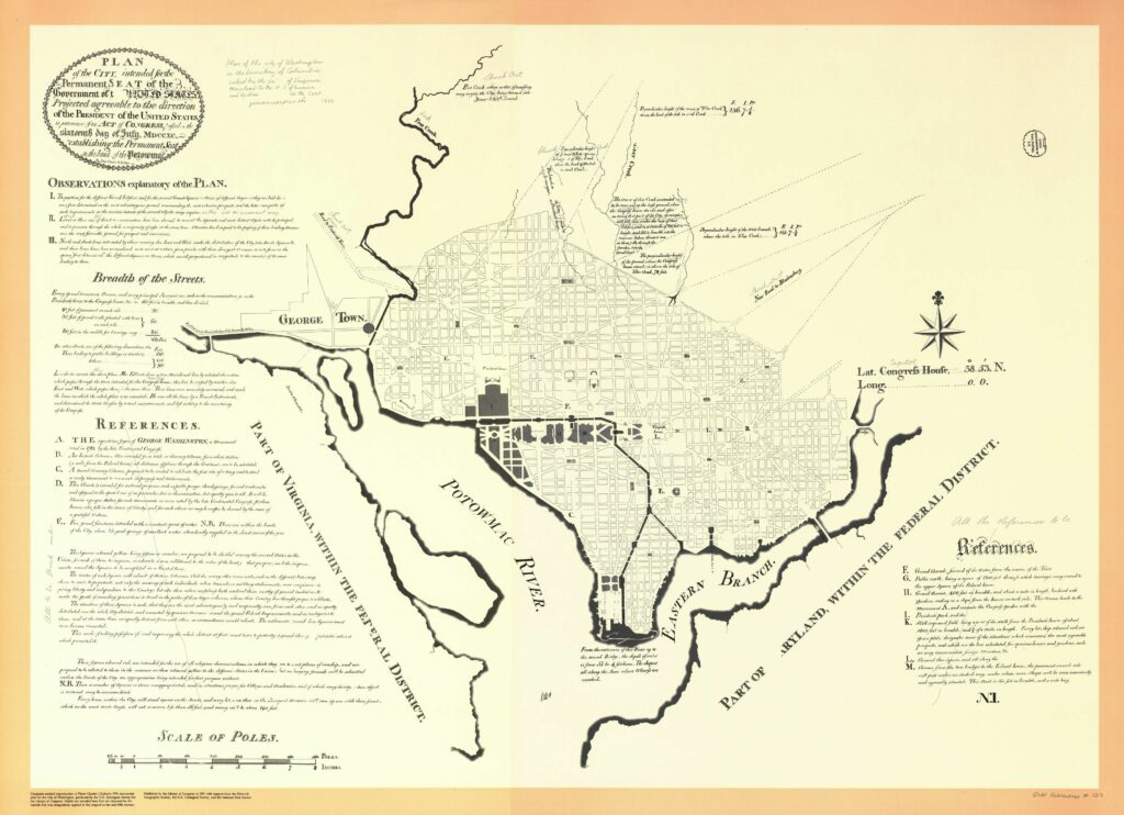 "Plan of the city intended for the permanent seat of the government of t[he] United States : projected agreeable to the direction of the President of the United States, in pursuance of an act of Congress, passed on the sixteenth day of July, MDCCXC. Library of Congress, Geography and Map Division. In addition to naming the Potomac River and the smaller Eastern Branch, this map is notable in that it contains pencil annotations by Thomas Jefferson. Jefferson eliminated the letter ""w"" from the ""Potowmack""; and changed the name of the ""Congress House"" to ""Capitol"". These annotations were unknown to scholars until the map was digitally enhanced in 1989 for the publication of a full color facsimile."