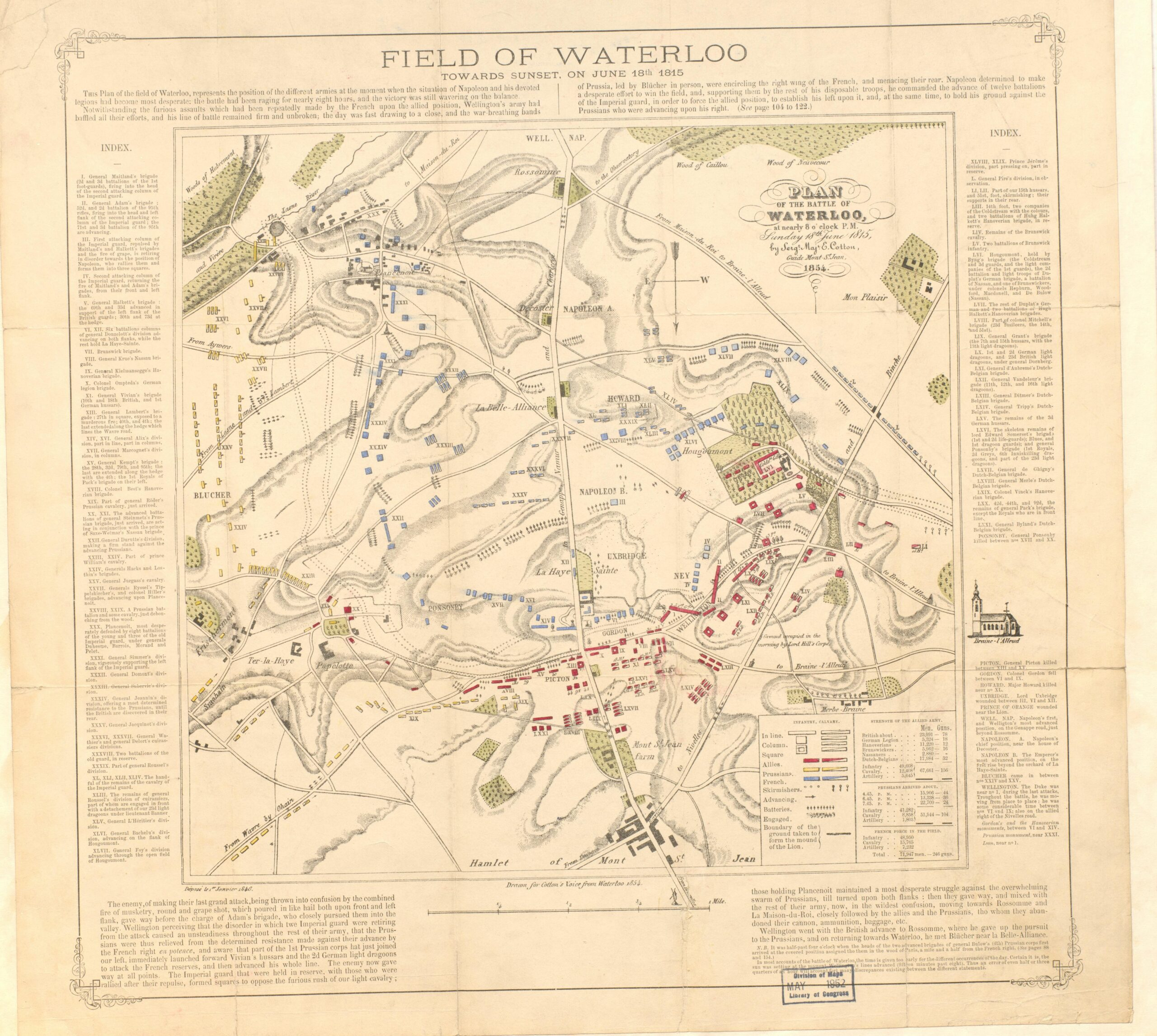A map of the Battle of Waterloo drawn by Edward Cotton.
