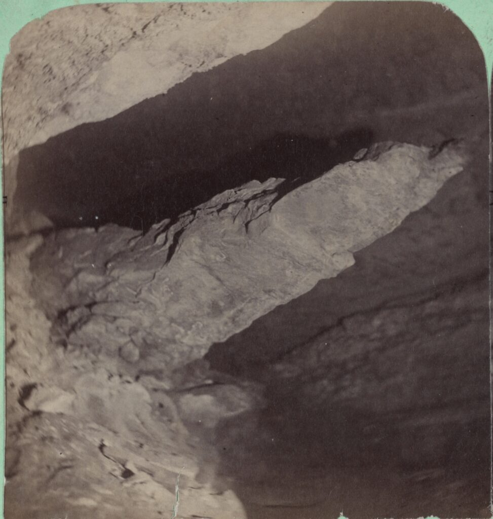 A black and white photograph of Lovers Leap in Mammoth Cave.